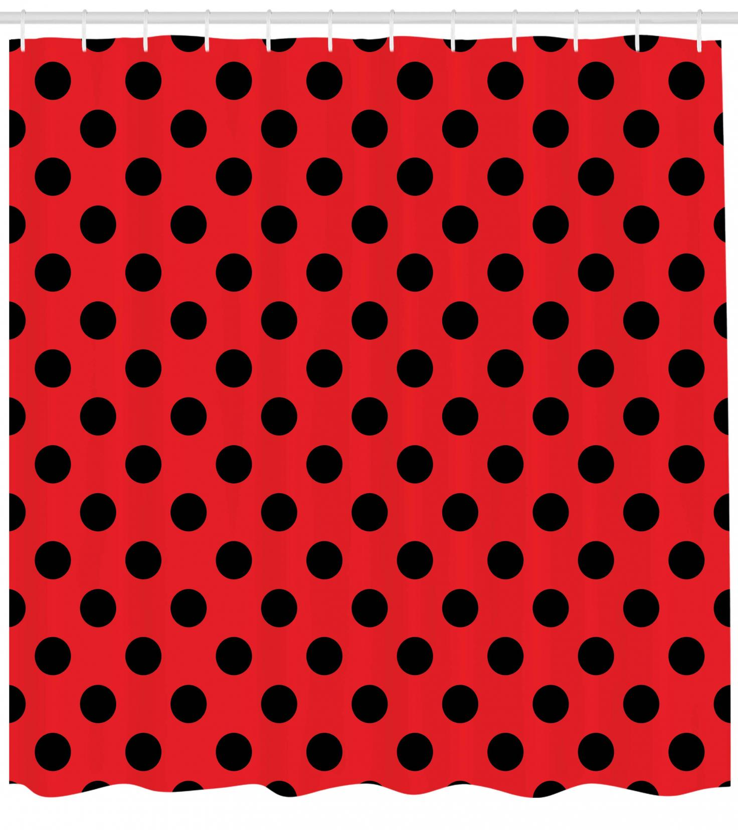 Red And Black Shower Curtain Set Red And Black Shower Curtain Retro Vintage Pop Art Theme Old 60s 50s Rocker Inspired Bold Polka Dots Image Fabric Bathroom Set With Hooks Scarlet