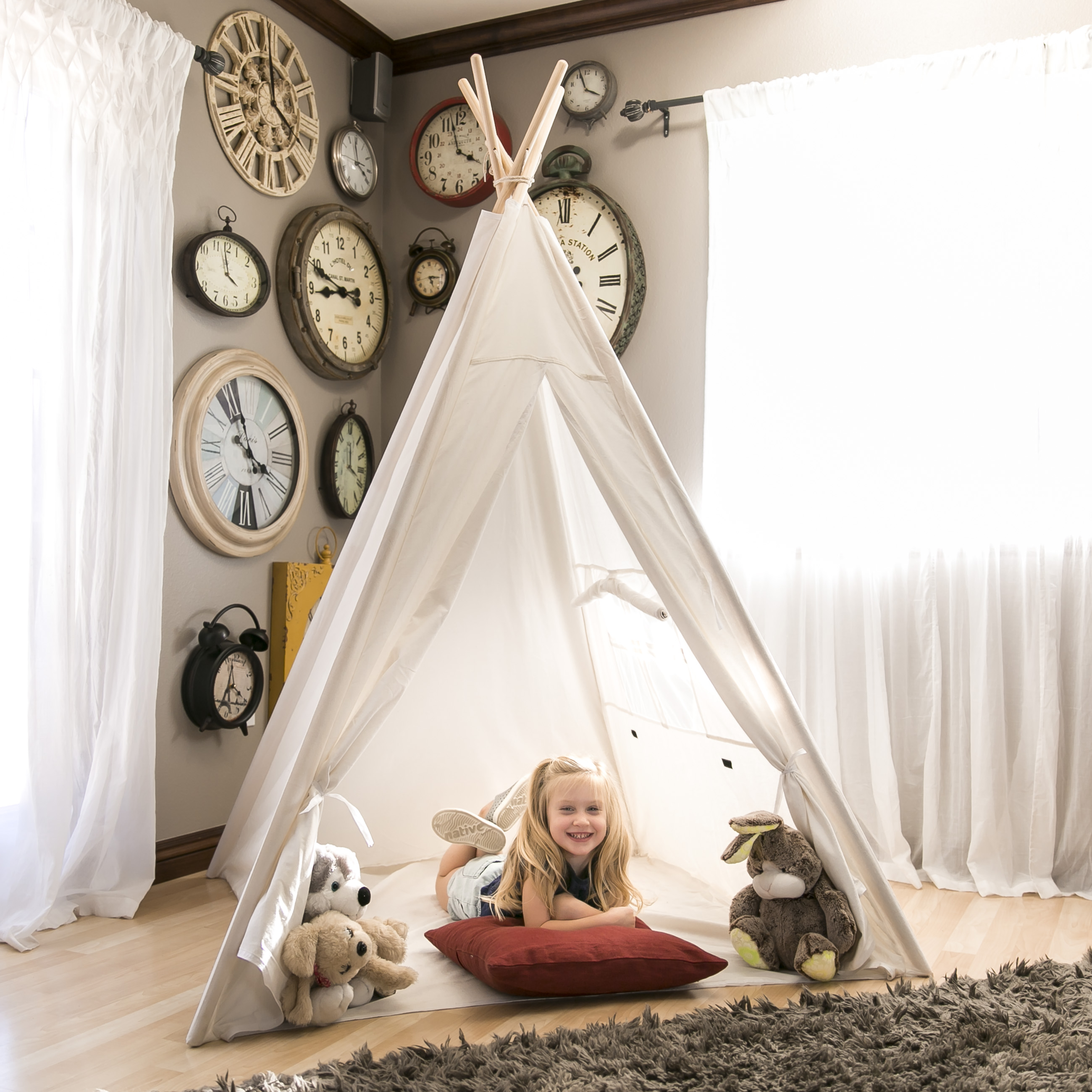 Teepee Kids Best Choice Products 6ft White Teepee Tent Kids Indian Canvas Playhouse Sleeping Dome W Carrying Bag White