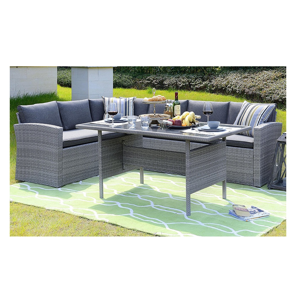 Cheap L Shaped Rattan Sofa Homewell Outdoor Wicker Dining Set With L Shaped Sofa