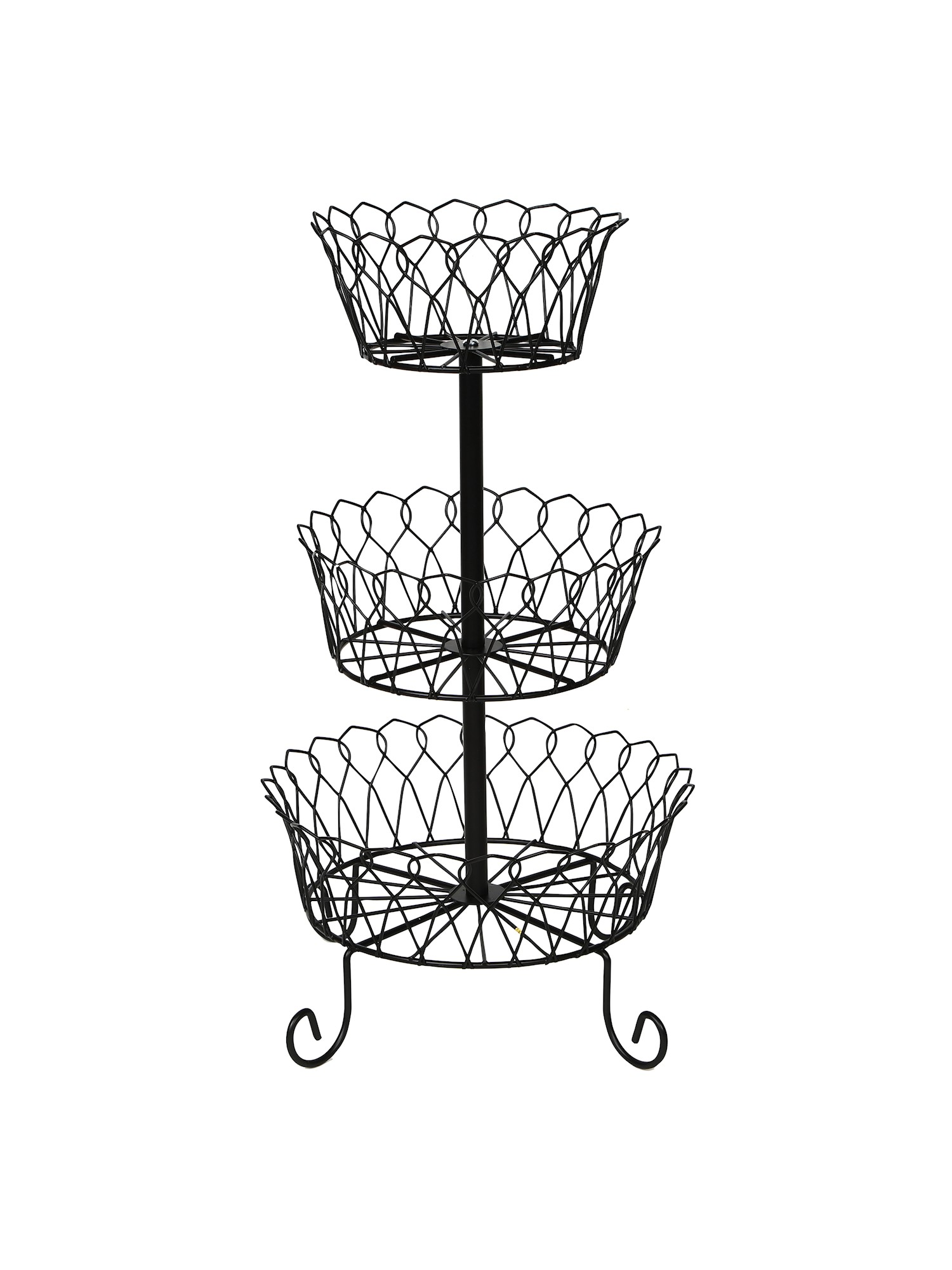 Wire Fruit Bowls Home District 3 Tier Iron Fruit Basket Stand Footed Wire Graduated Food Storage Bowls For Countertop And Dining Table