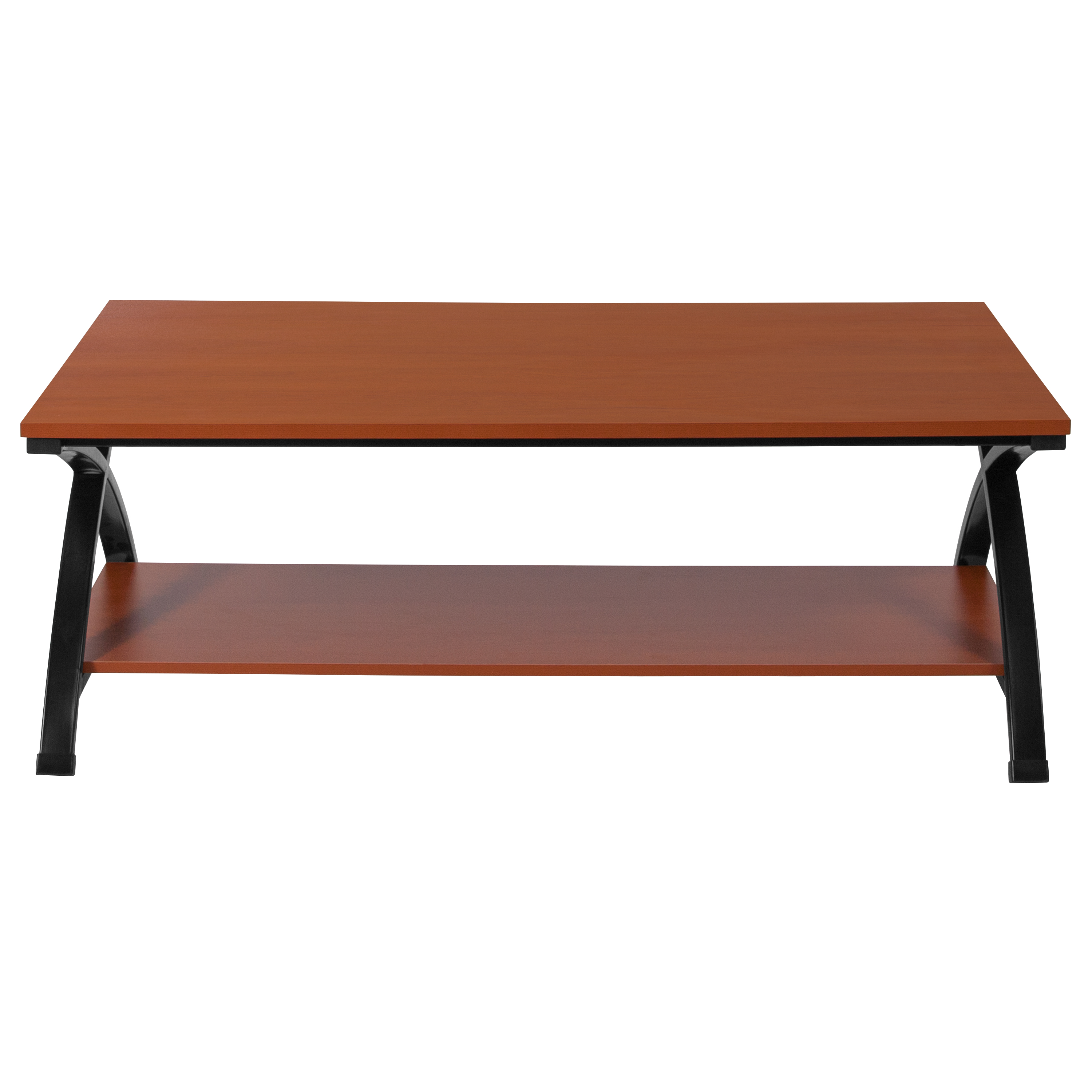 Outdoor Furniture Ringwood Flash Furniture Ringwood Cherry Wood Grain Finish Coffee Table With Black Metal Frame