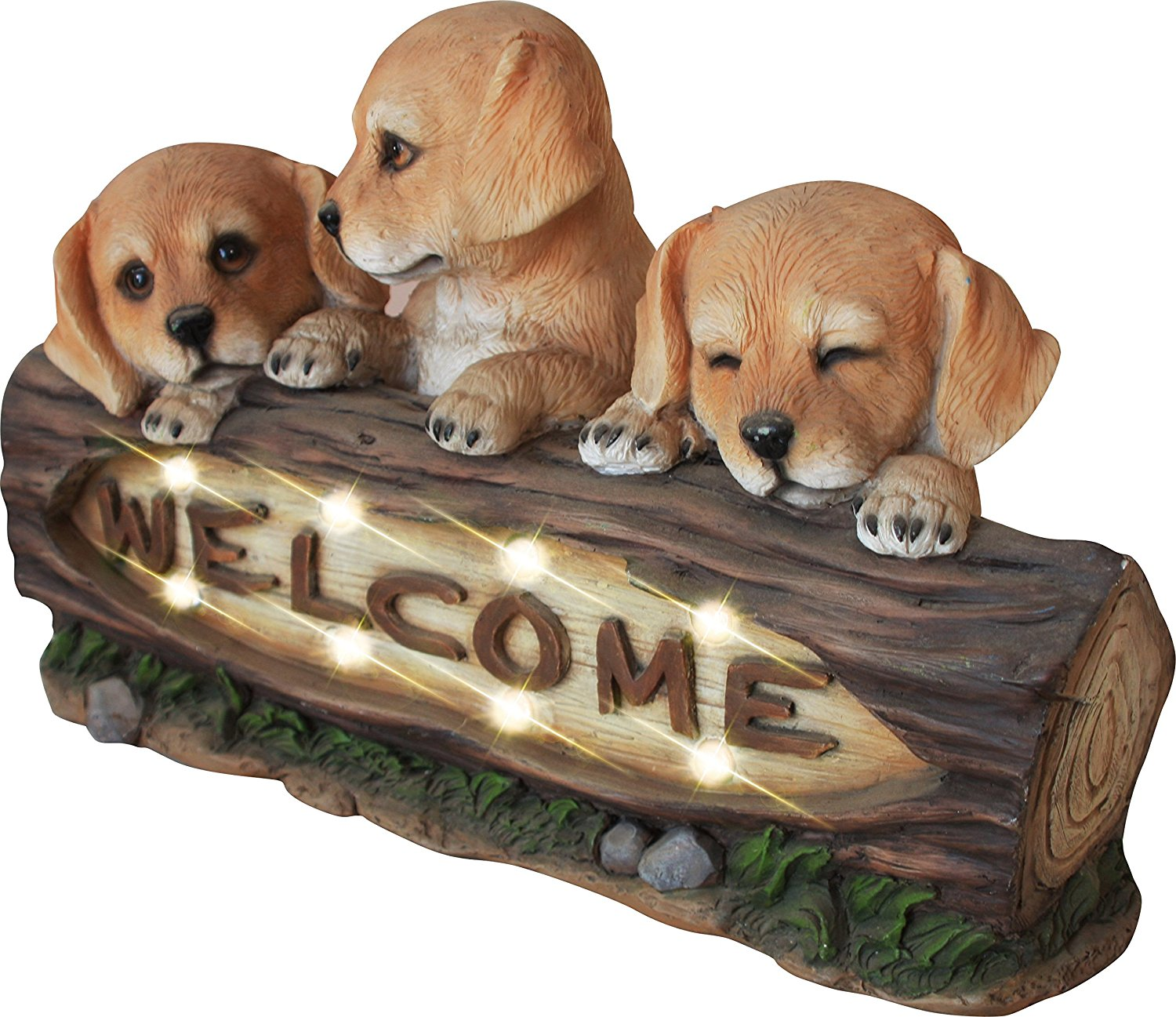 Welcome Statues Garden Garden Statues Welcome Dogs With Solar Powered Led Lights 15 Inch Puppy Dog Decor For Door Patio Yard
