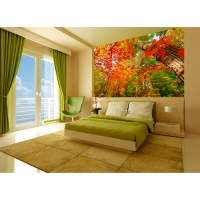 Startonight Mural Wall Art Beautiful Red Leaves in the ...