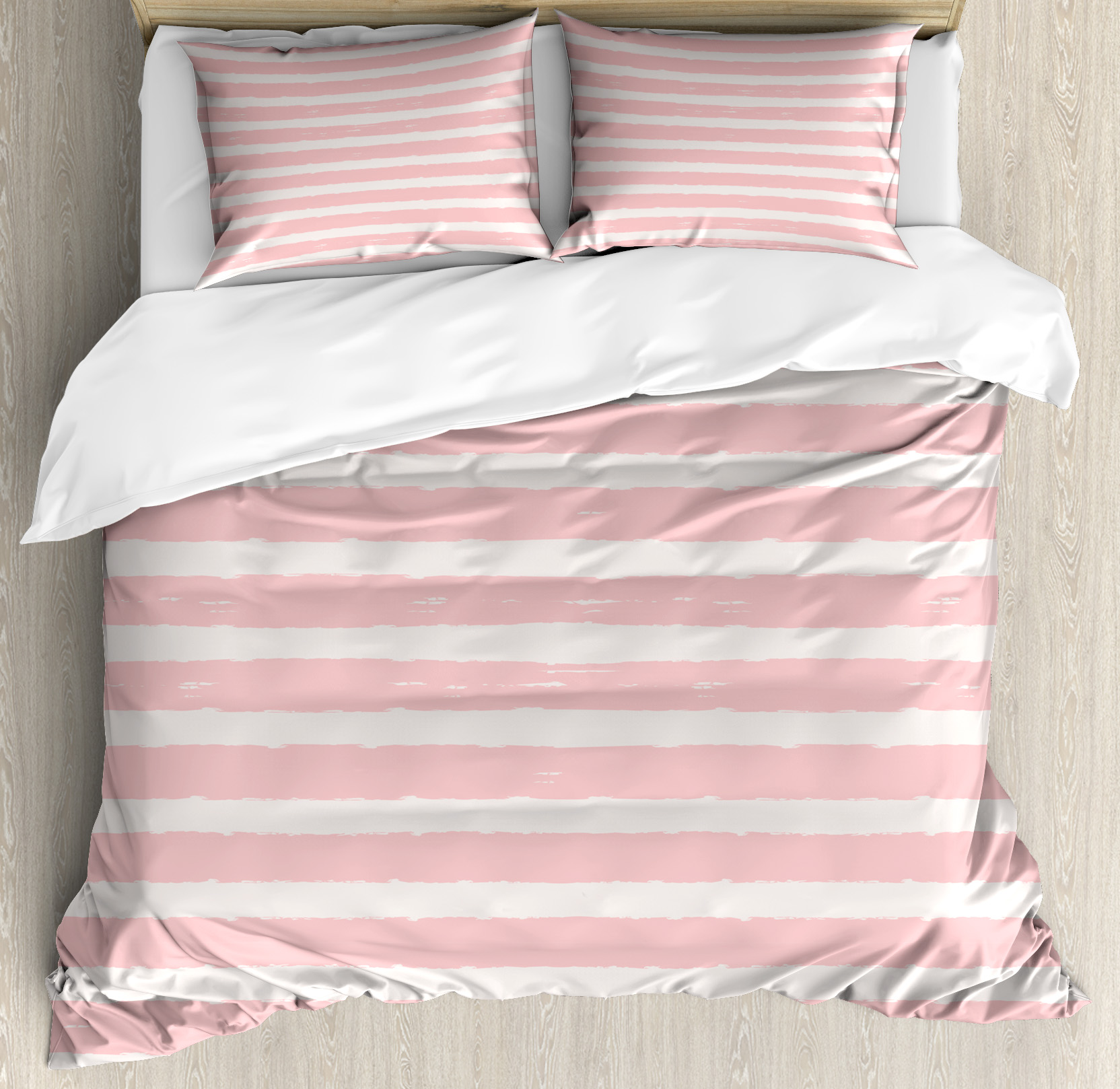 Blush Pink Quilt Cover Kids Queen Size Duvet Cover Set Paint Brushstrokes In Horizontal Direction Pastel Color Pattern For Girls Kids Decorative 3 Piece Bedding Set With 2