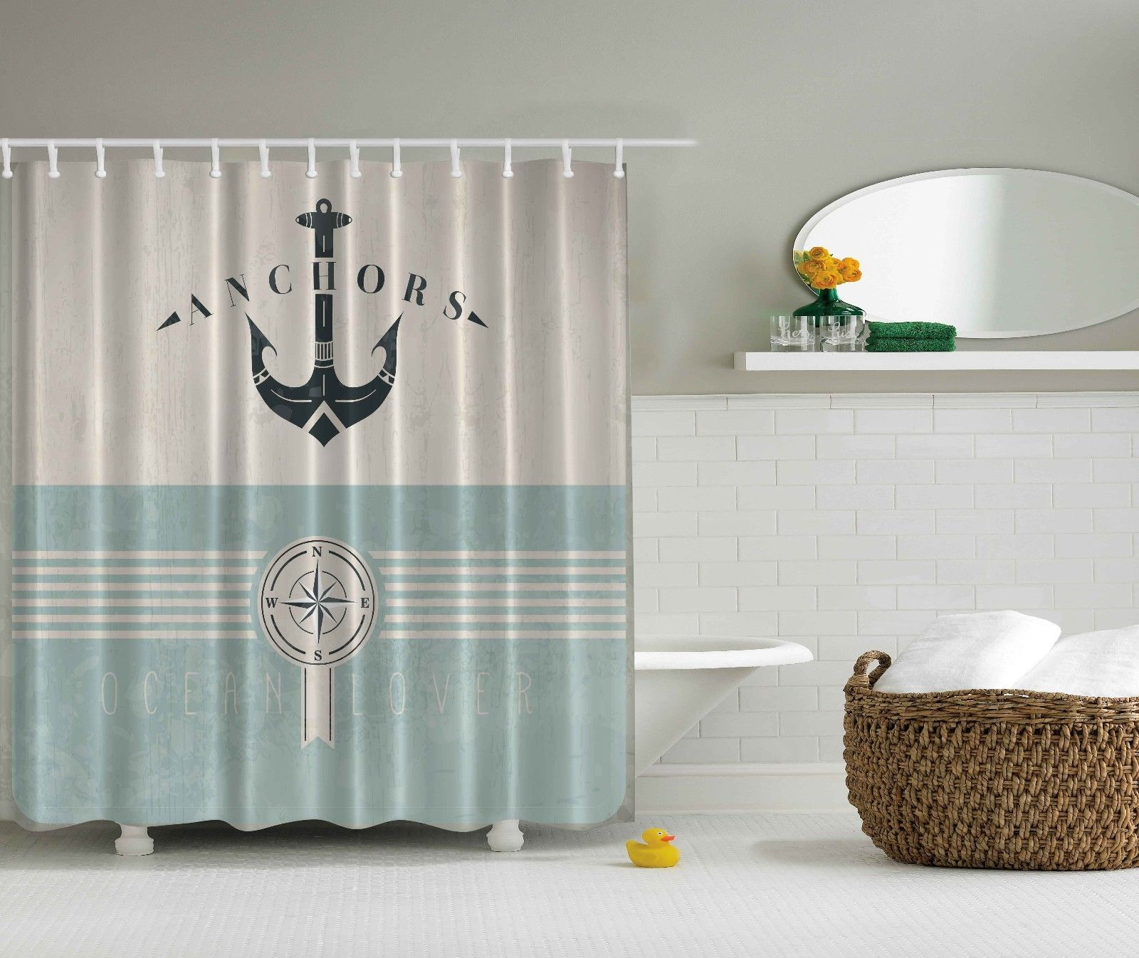 Nautical Fabric Shower Curtains Ocean Decor Nautical Anchor Sailor Sea Marine Bath Fashion Fabric Shower Curtain