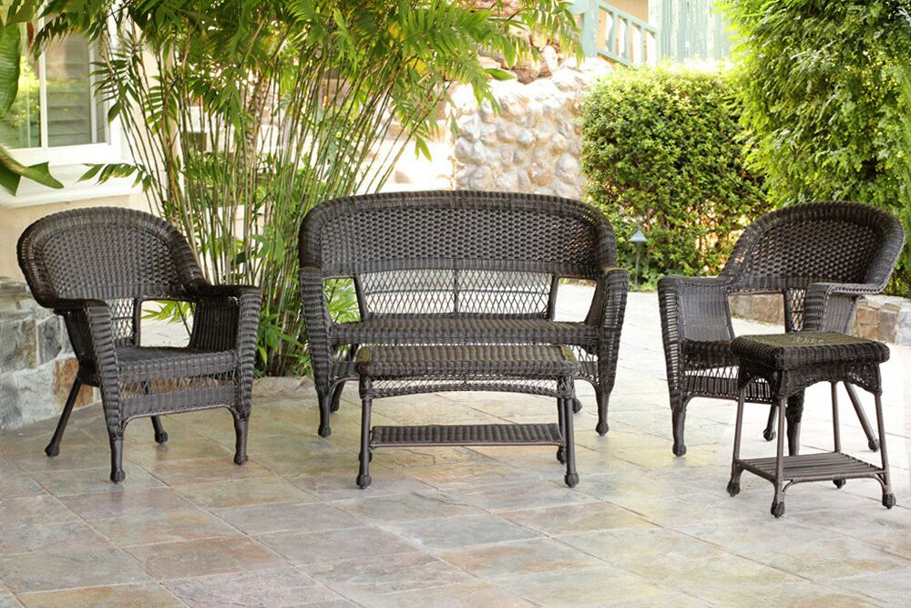 5 Piece Espresso Resin Wicker Patio Chairs Loveseat And