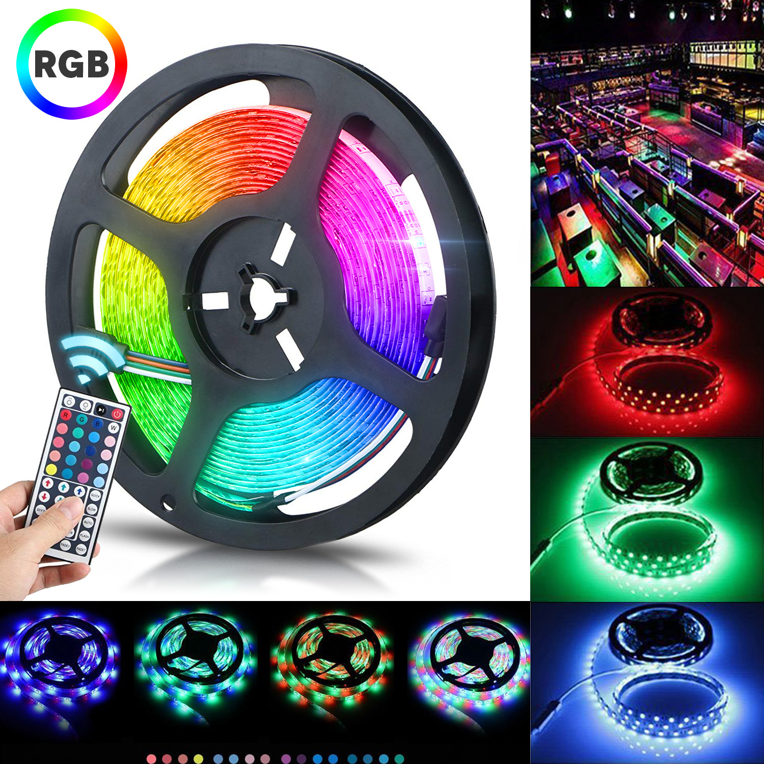 Led Light Strips Rgb Tsv 16 4ft Led Flexible Strip Lights 300 Units Smd 5050 Leds 12v Dc Waterproof Light Strips Rgb Led Light Strip Kit With 44key Remote Controller