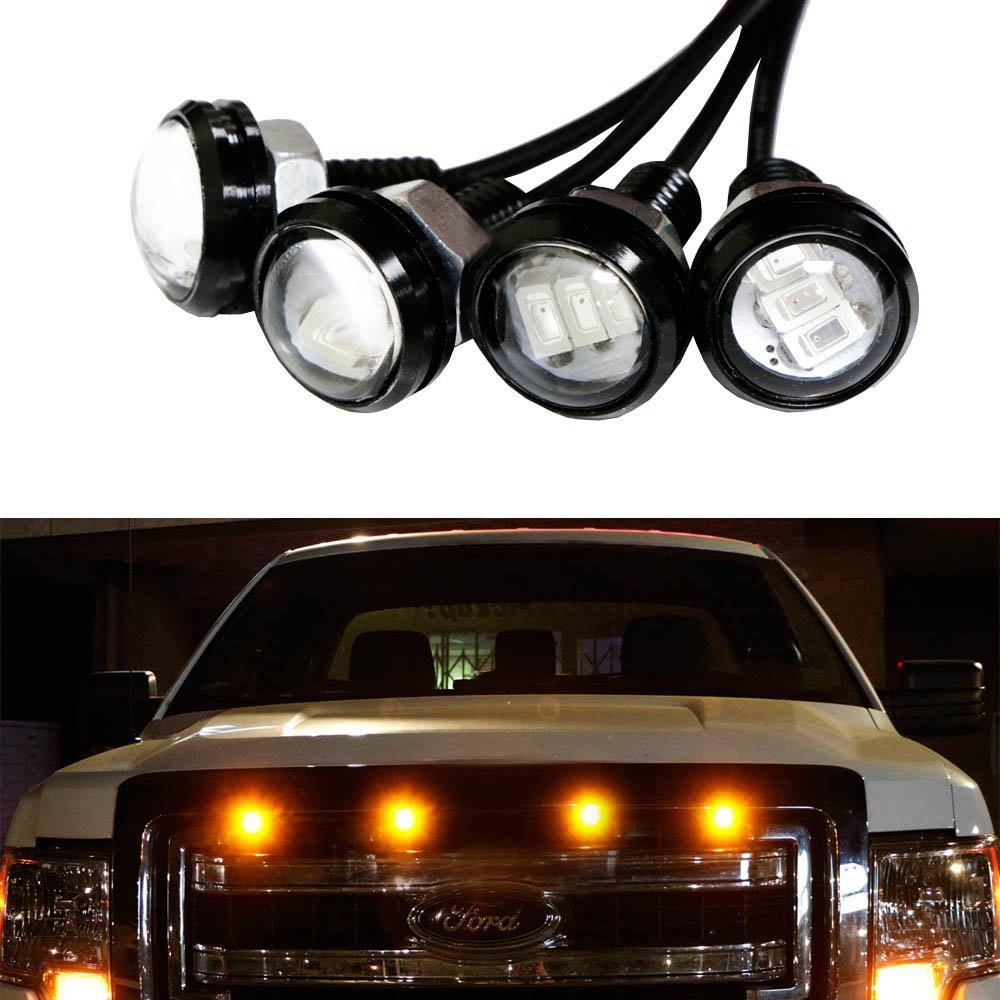 Led Lights For Trucks Ijdmtoy 4pc Ford Raptor Style 3000k Amber Led Lighting Kit For Chevy Dodge Ford Gmc Truck Or Suv Grille For Side Markers