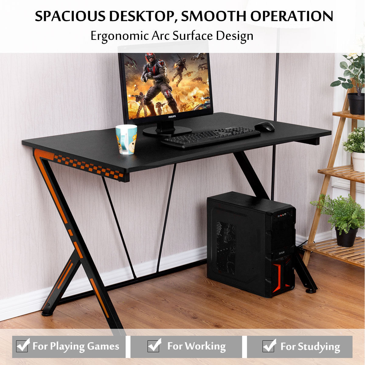Computer Gaming Desk Costway Gaming Desk Computer Desk Pc Laptop Table Workstation Home Office Ergonomic New