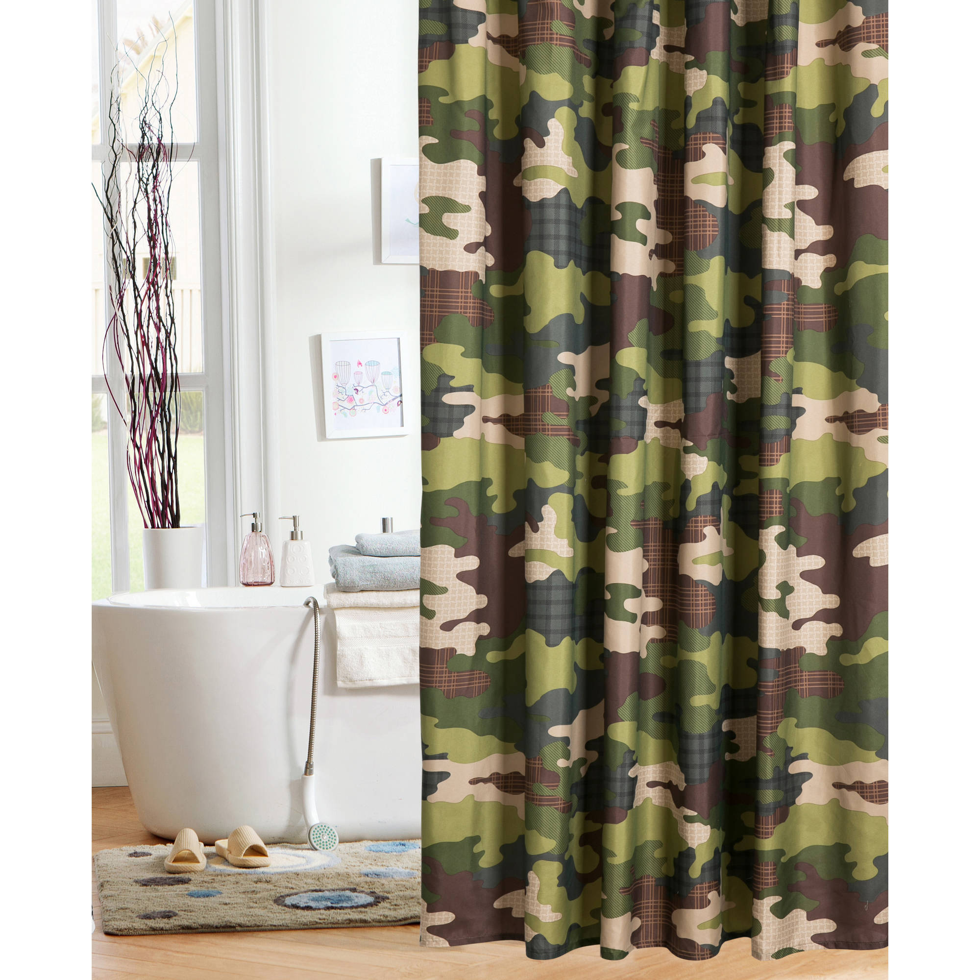 82 Shower Curtain Mainstays Kids Camo Shower Curtain