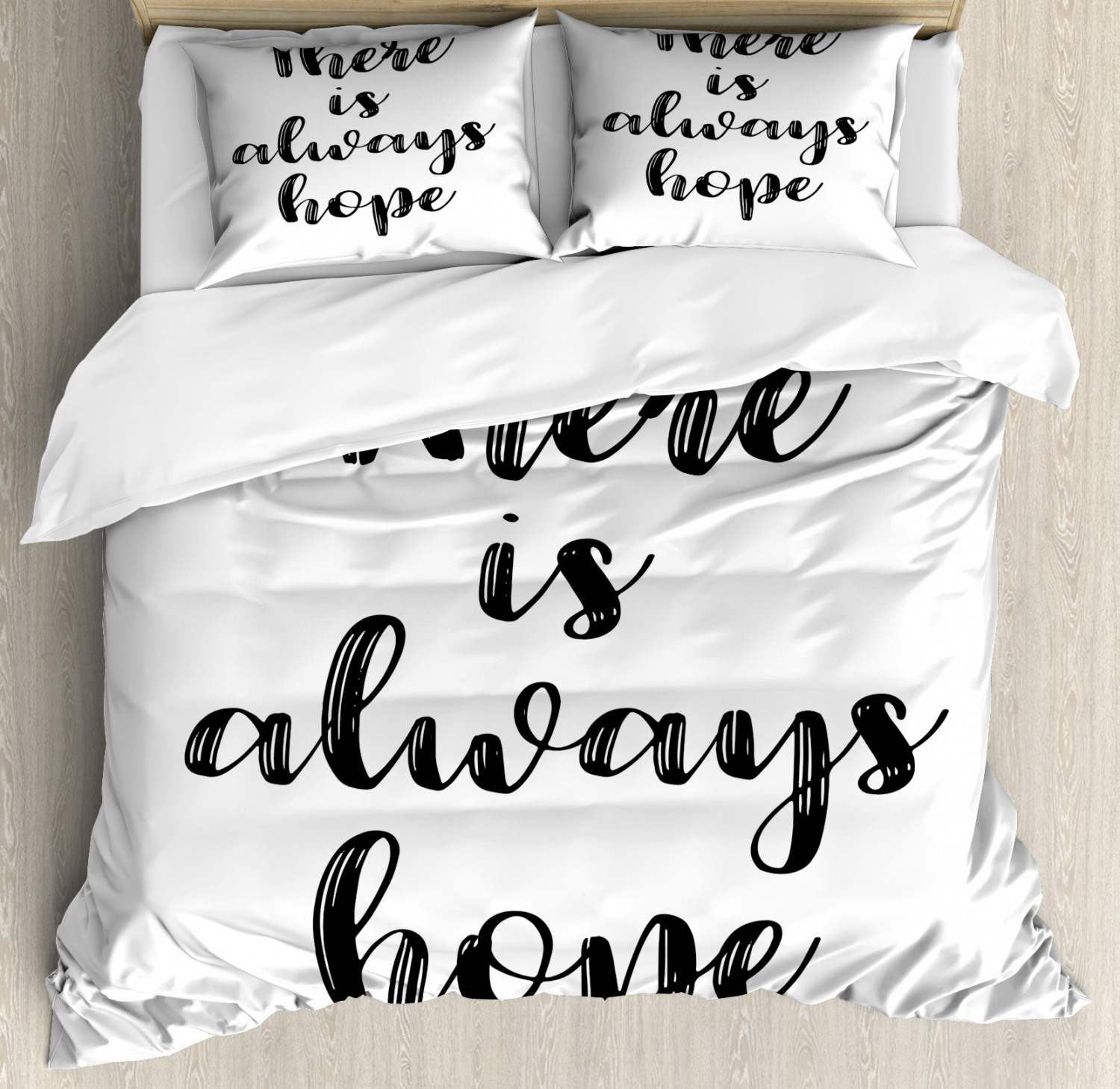 Hope King Size Duvet Cover Set There Is Always Hope Hand Lettering Style Illustration Inspirational Vintage Decorative 3 Piece Bedding Set With 2 Pillow Shams Black And White By Ambesonne Walmart Com