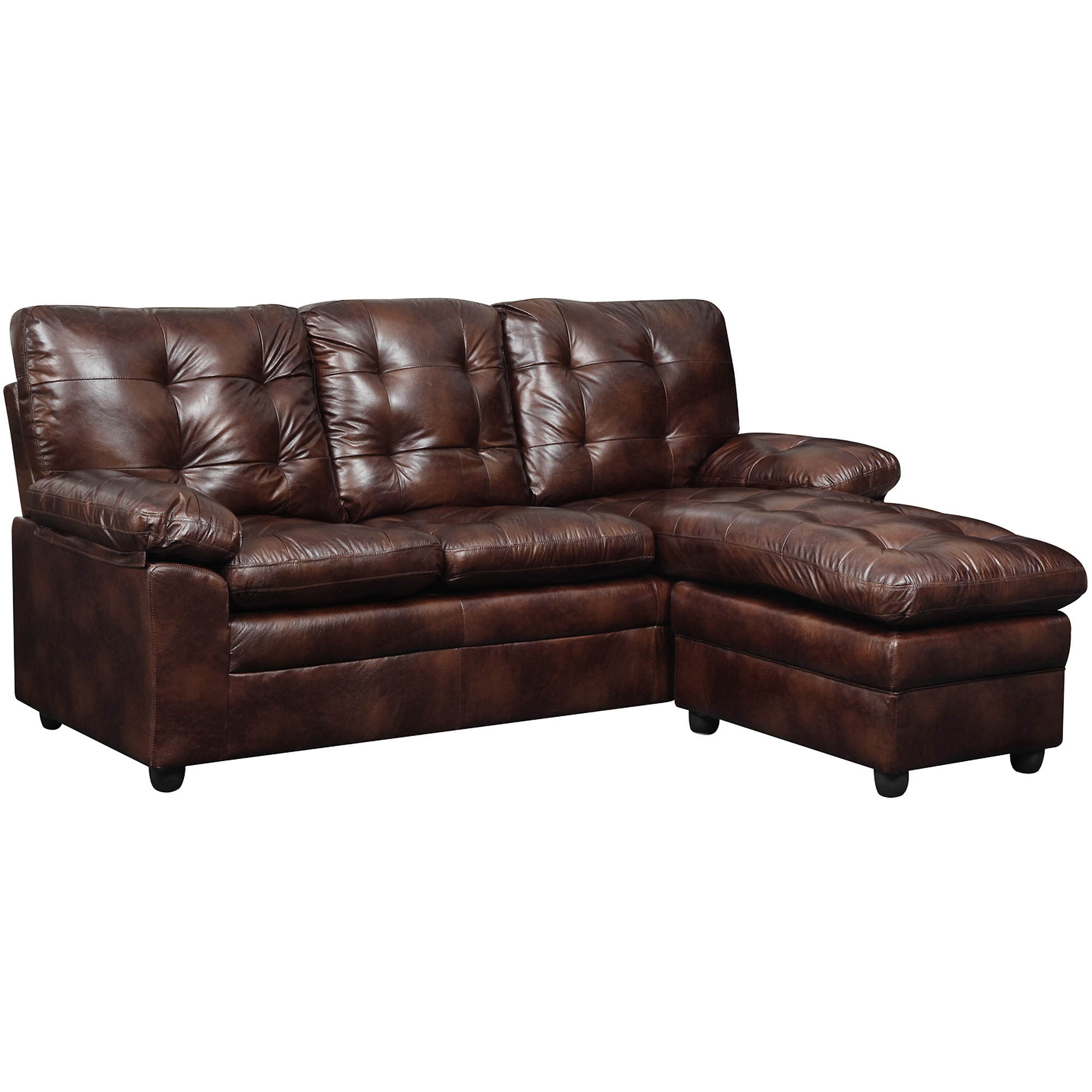 Faux Leather Sofa In A Box Dhi Buchannan Faux Leather Sectional Sofa With Chaise Chestnut Box 1 Of 2