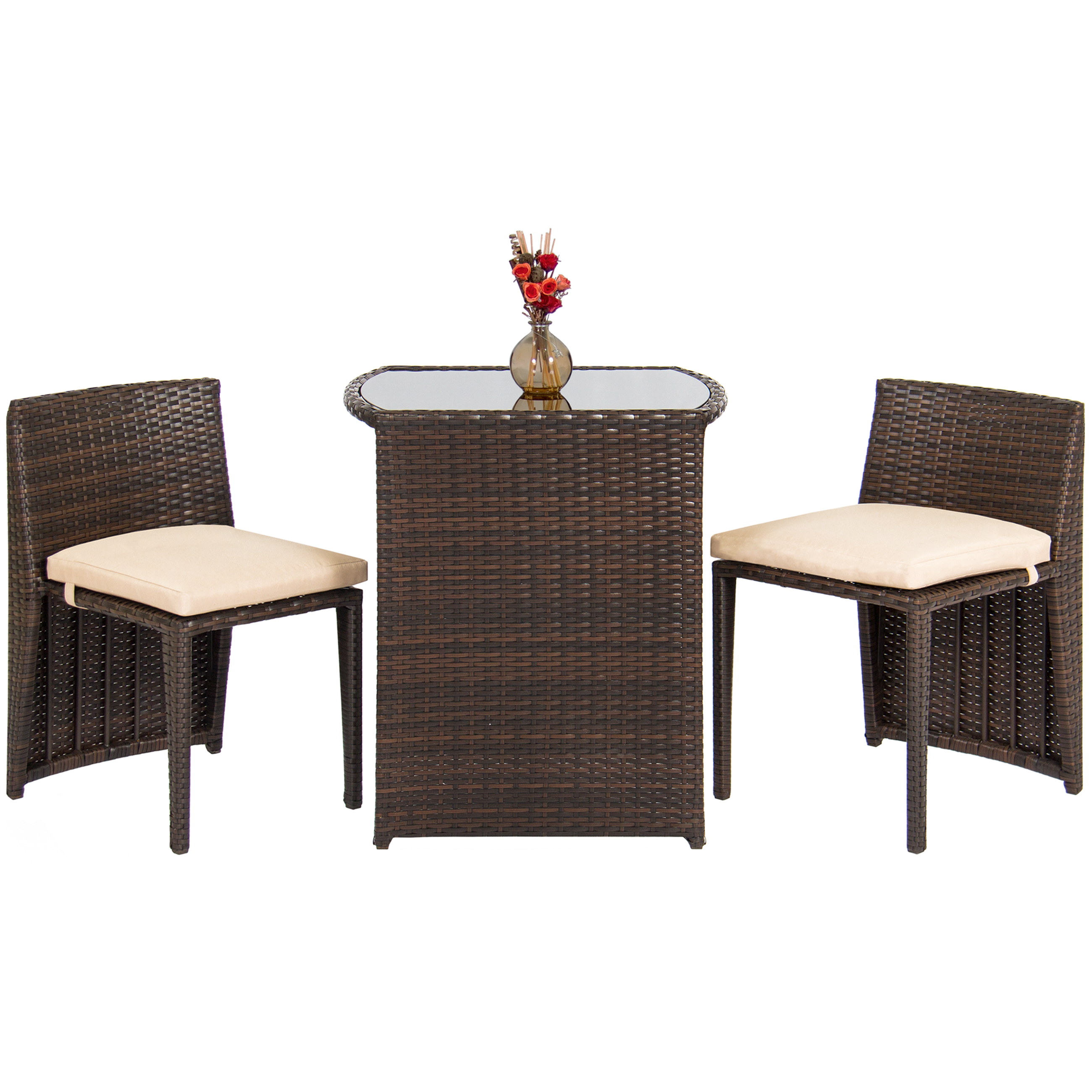 Best Choice Products 5pc Rattan Wicker Sofa Set Instructions Best Choice Products Wicker 3 Piece Space Saving Outdoor Bistro Set With Glass Table Top