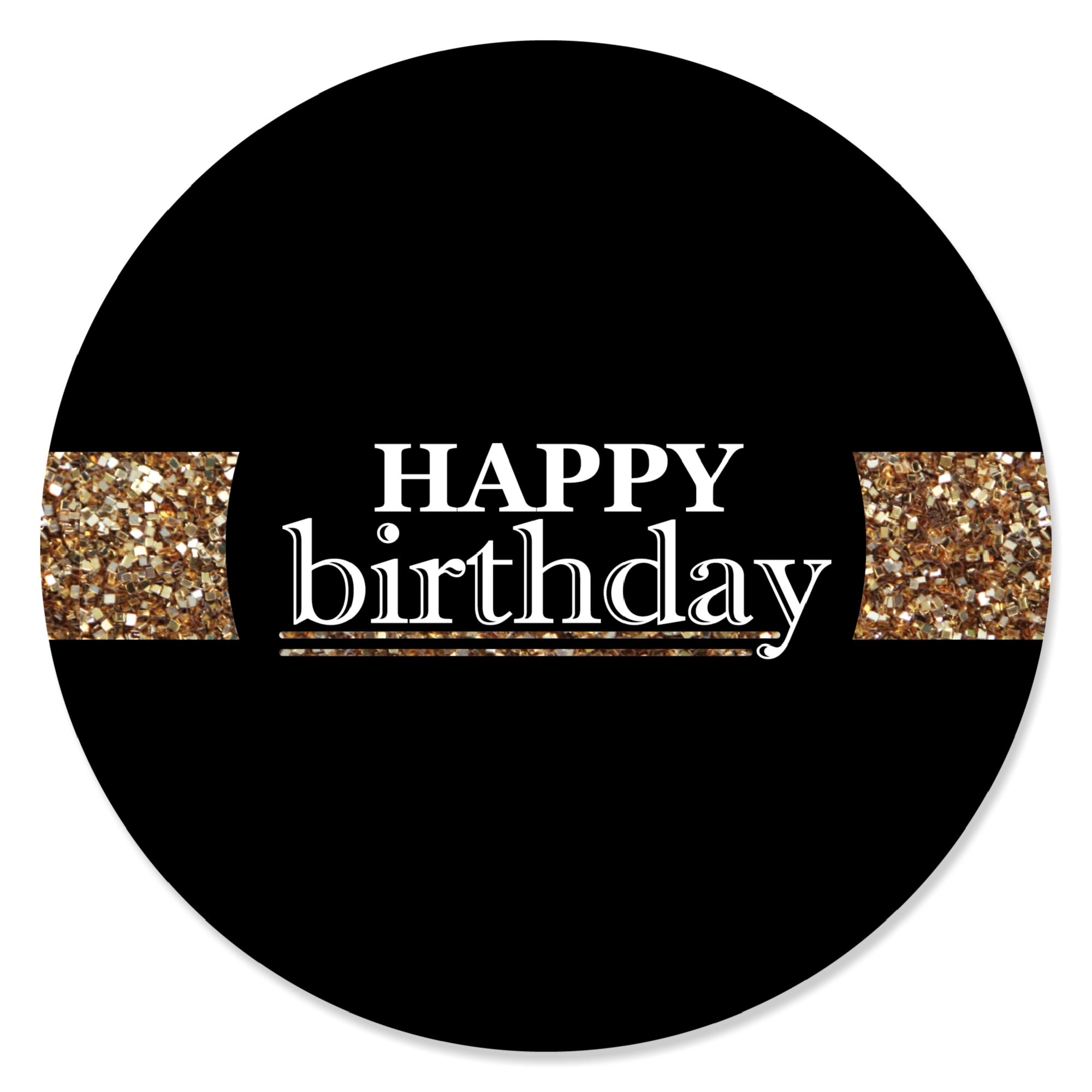Adult Happy Birthday Gold Birthday Party Circle Sticker Labels 24 Count Walmart Com Walmart Com