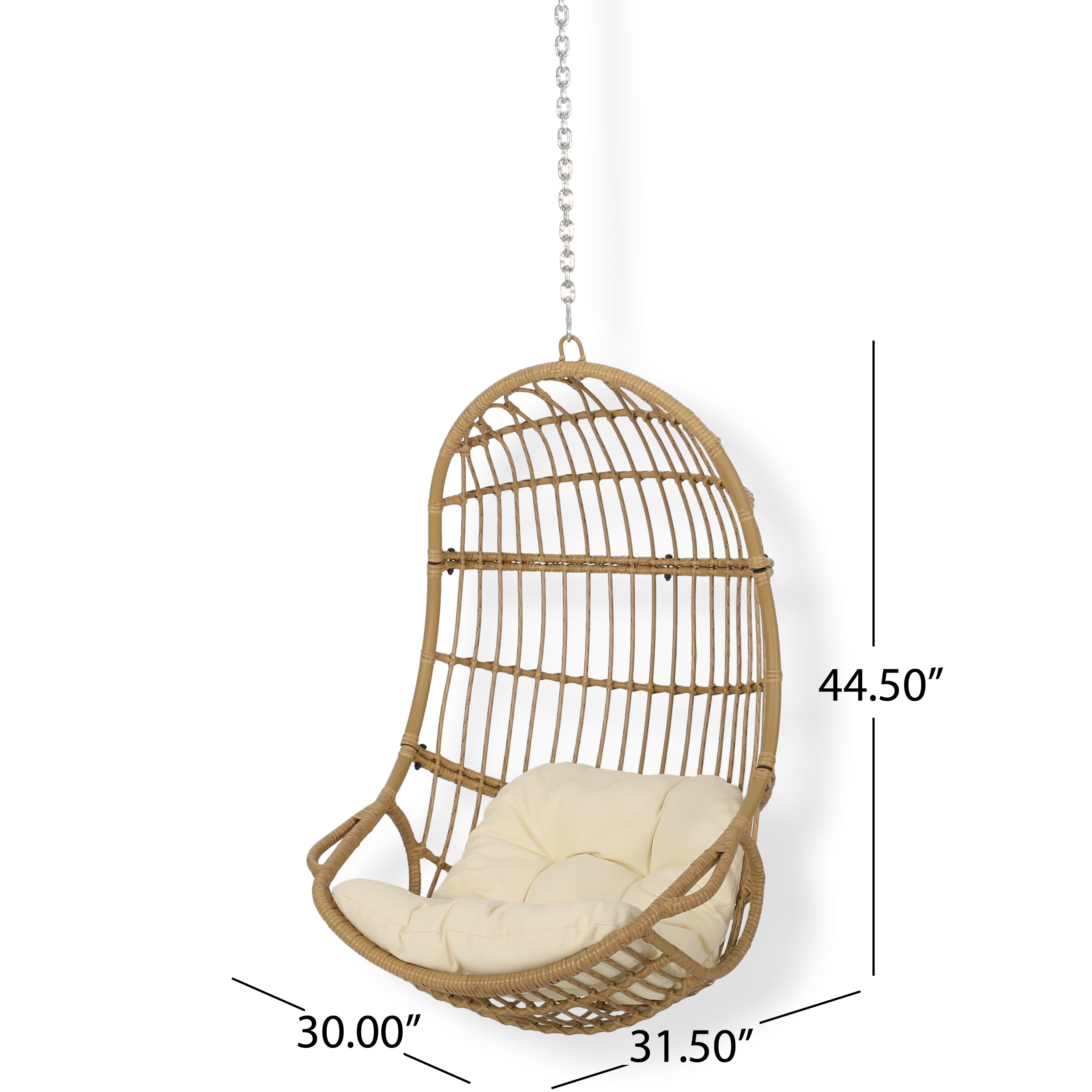 Ottawa Outdoor Indoor Wicker Hanging Chair With 8 Foot Chain No Stand Light Brown And Beige Walmart Com Walmart Com