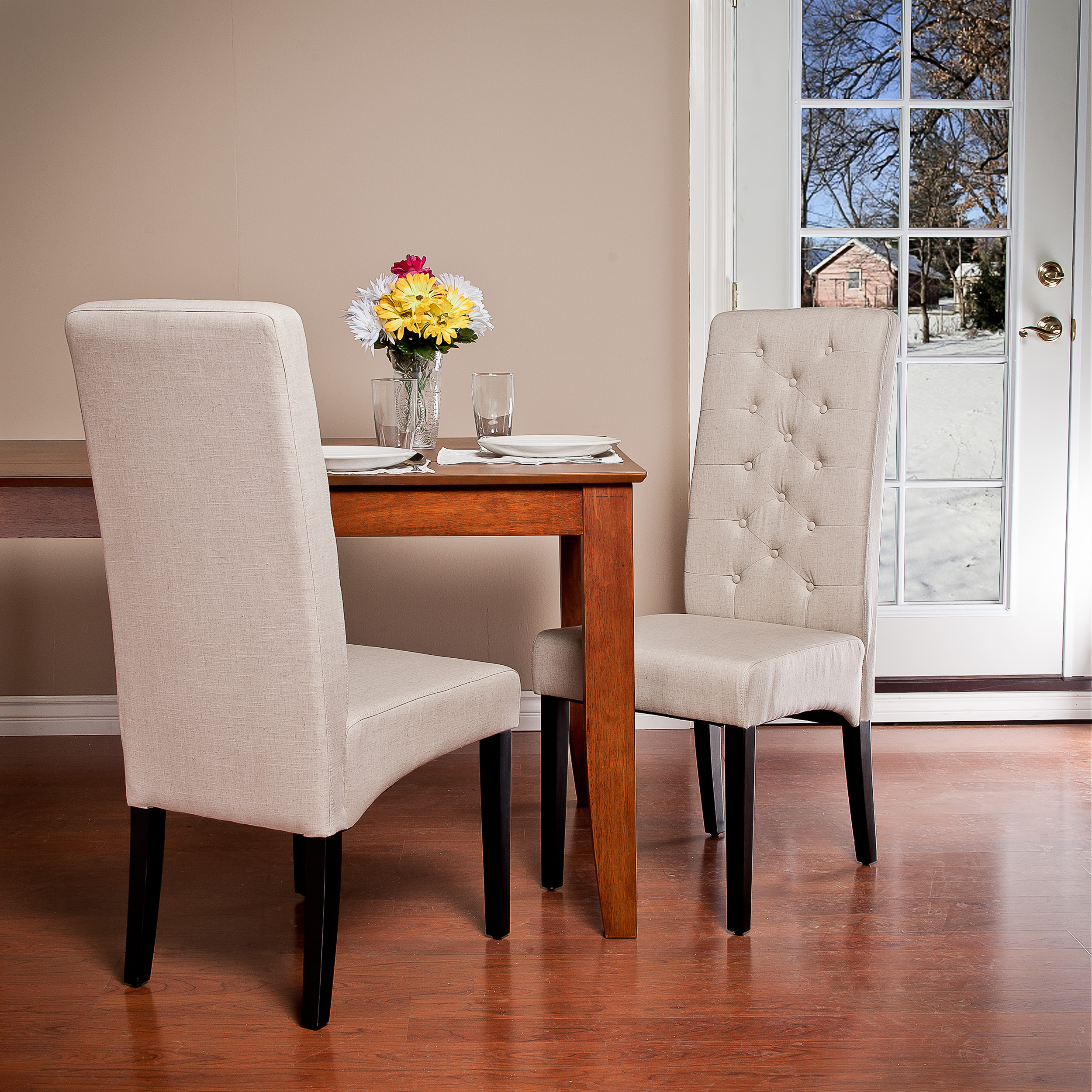 Noble House Furniture Noble House Tall Back Natural Fabric Dining Chairs Set Of