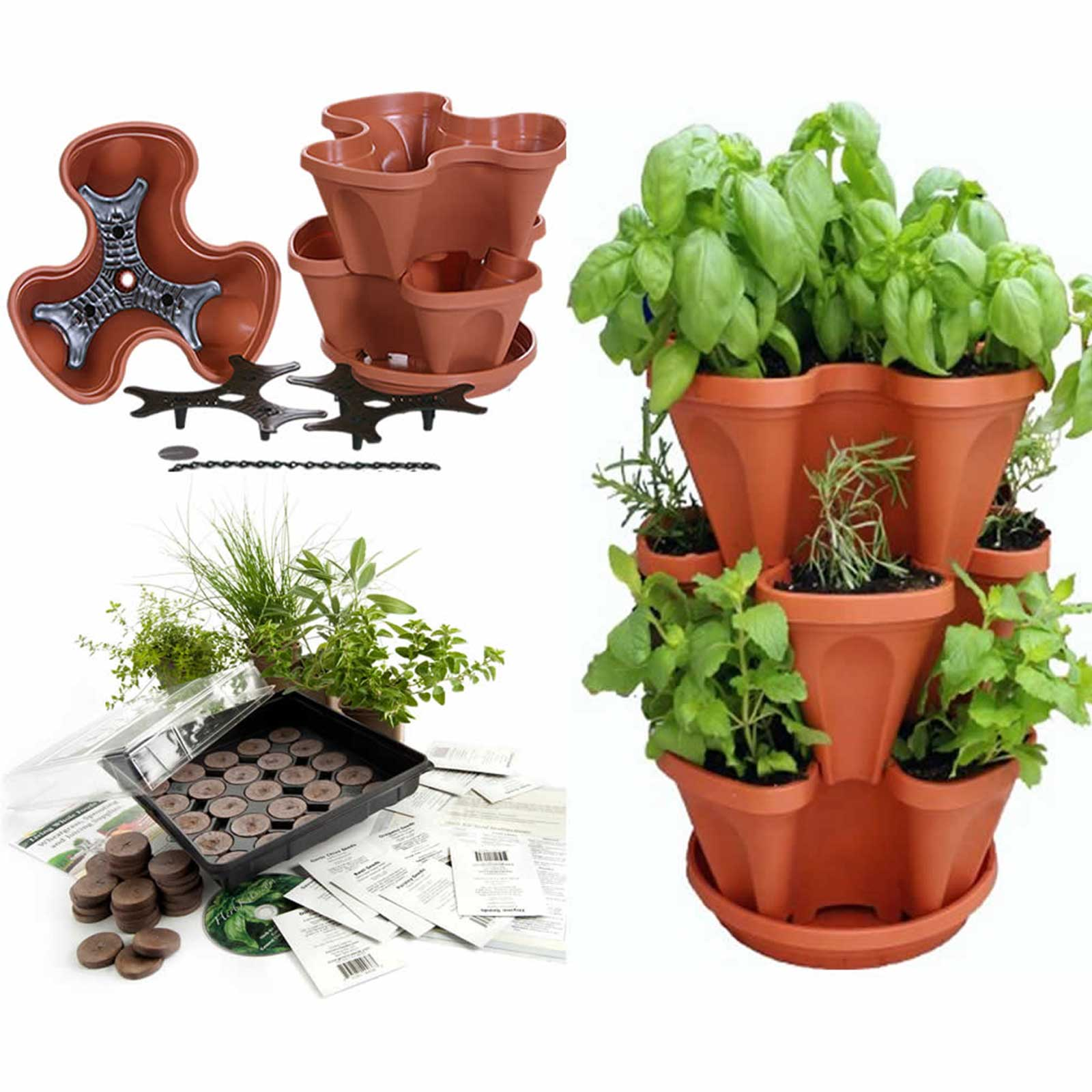 Planter For Herbs Garden Stacker Planter Indoor Culinary Herb Garden Kit Great Gift Idea Grow Cooking Herbs Seeds Cilantro Basil Dill Oregano Includes