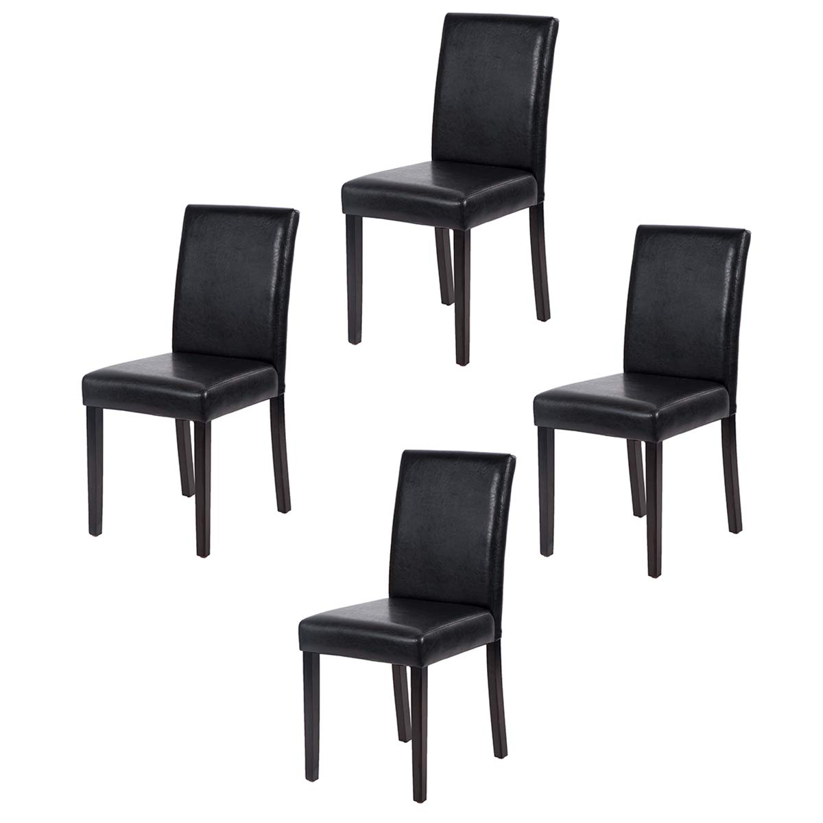 Leather Dining Room Chairs Set Of 4 Urban Style Leather Dining Chairs With Solid Wood Legs Chair