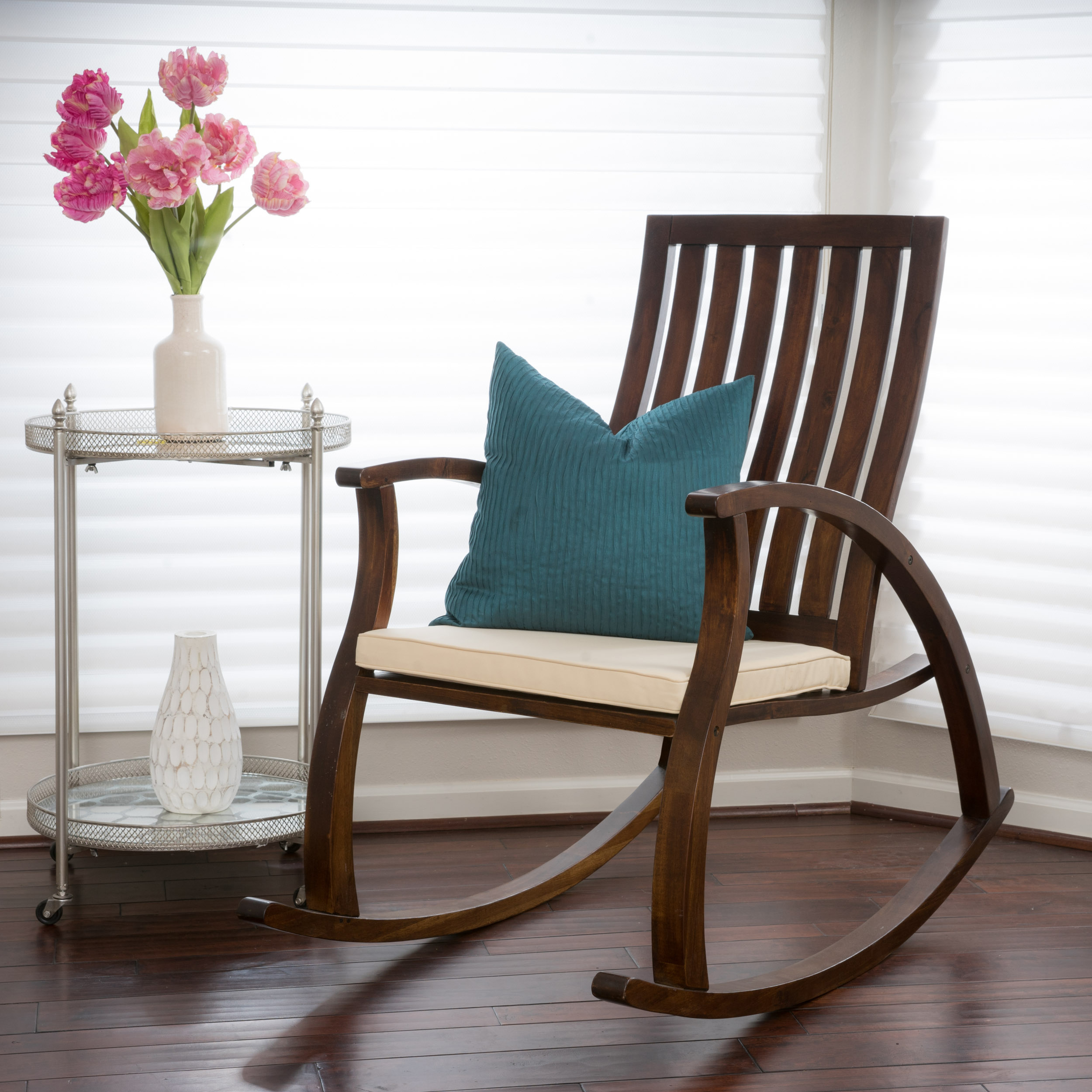 Rocking Chair With Cushions Chelsea Brown Mahogany Wood Rocking Chair With Cushion