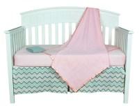 Pink and Grey Zig Zag Chevron 5 Piece Baby Girl Crib
