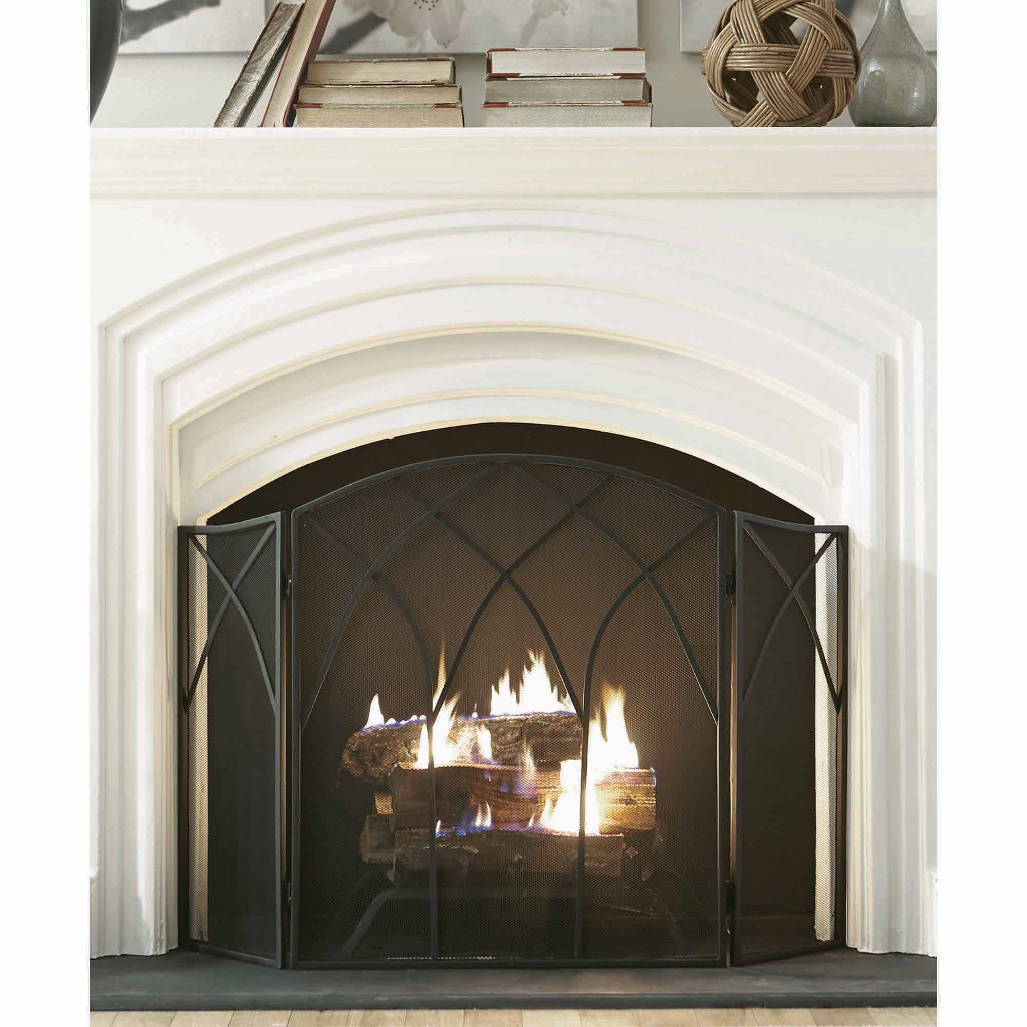 Glass Screen For Gas Fireplace Pleasant Hearth Clairmont Fireplace Screen And Bi Fold Track Free Smoked Glass Doors Black