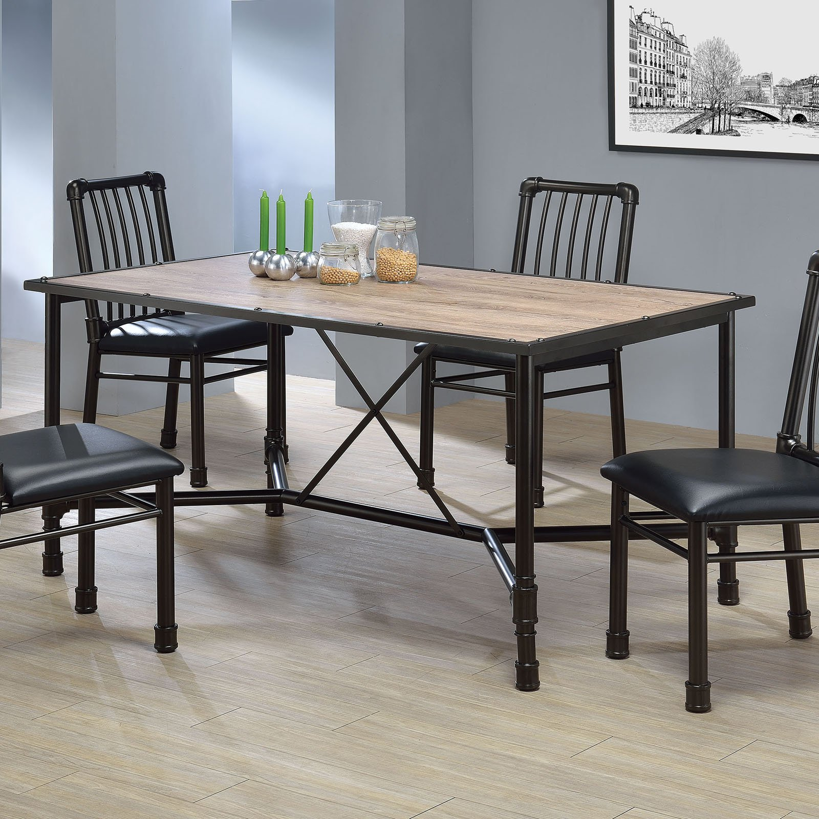Dining Room Furniture Rustic Acme Caitlin Dining Table Rustic Oak And Black
