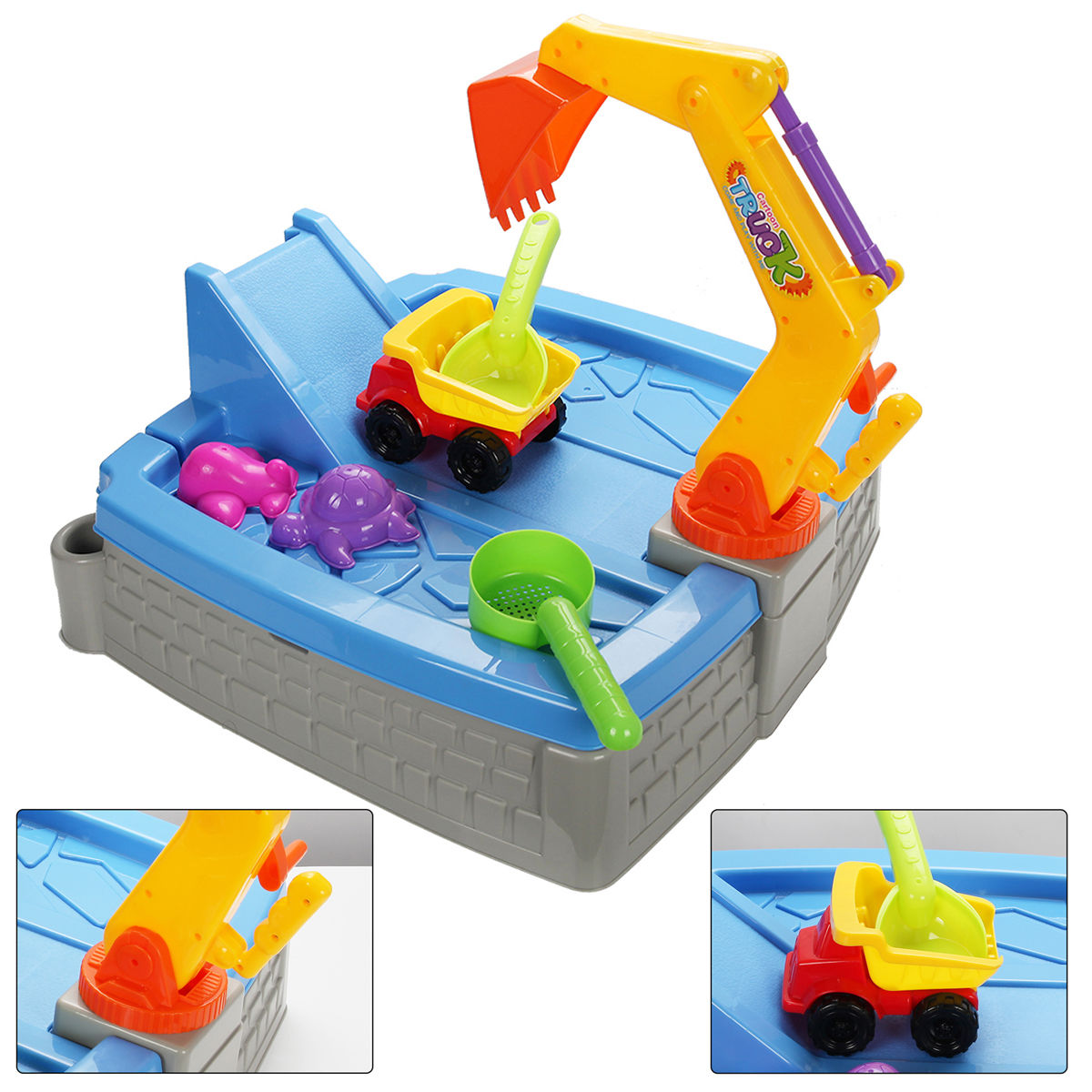 Gymax Kids Big Digger Sandbox With Cover Activity Outdoor Play Set Toy Walmart