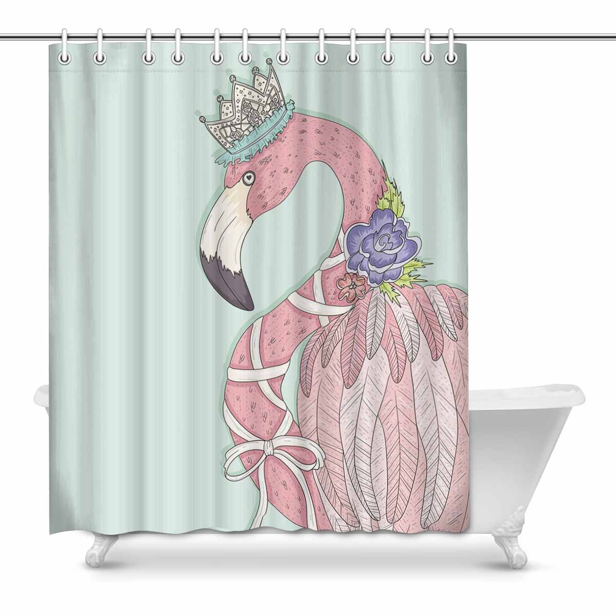 Cute Girly Shower Curtains Mkhert Cute Girly Flamingo With Flower Crown And Ribbon Decor Waterproof Polyester Bathroom Shower Curtain Bath Decorations 60x72 Inch