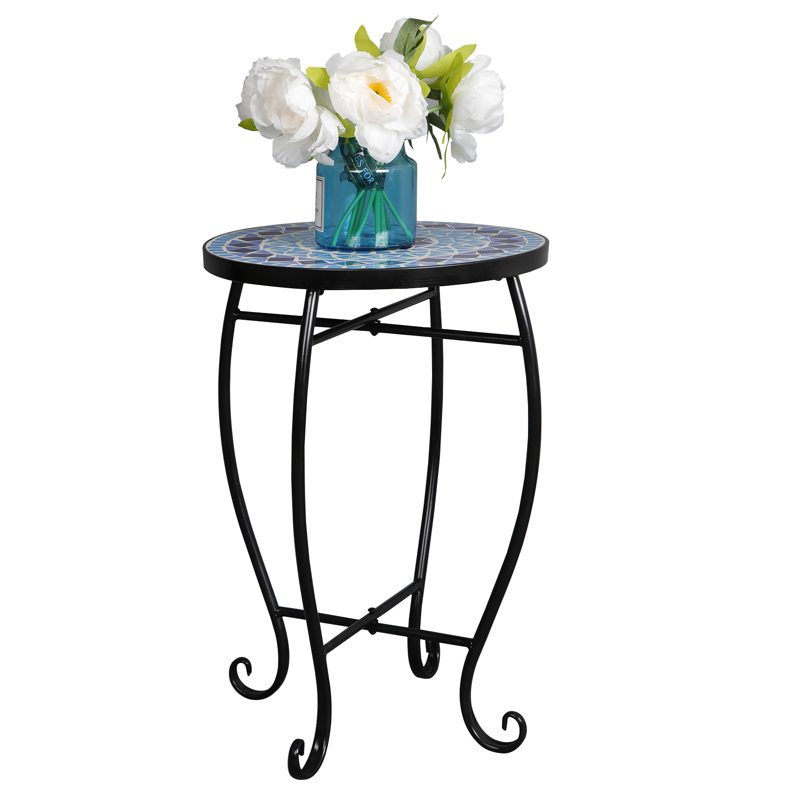 Zeny Mosaic Round Side Accent Table Patio Plant Stand
