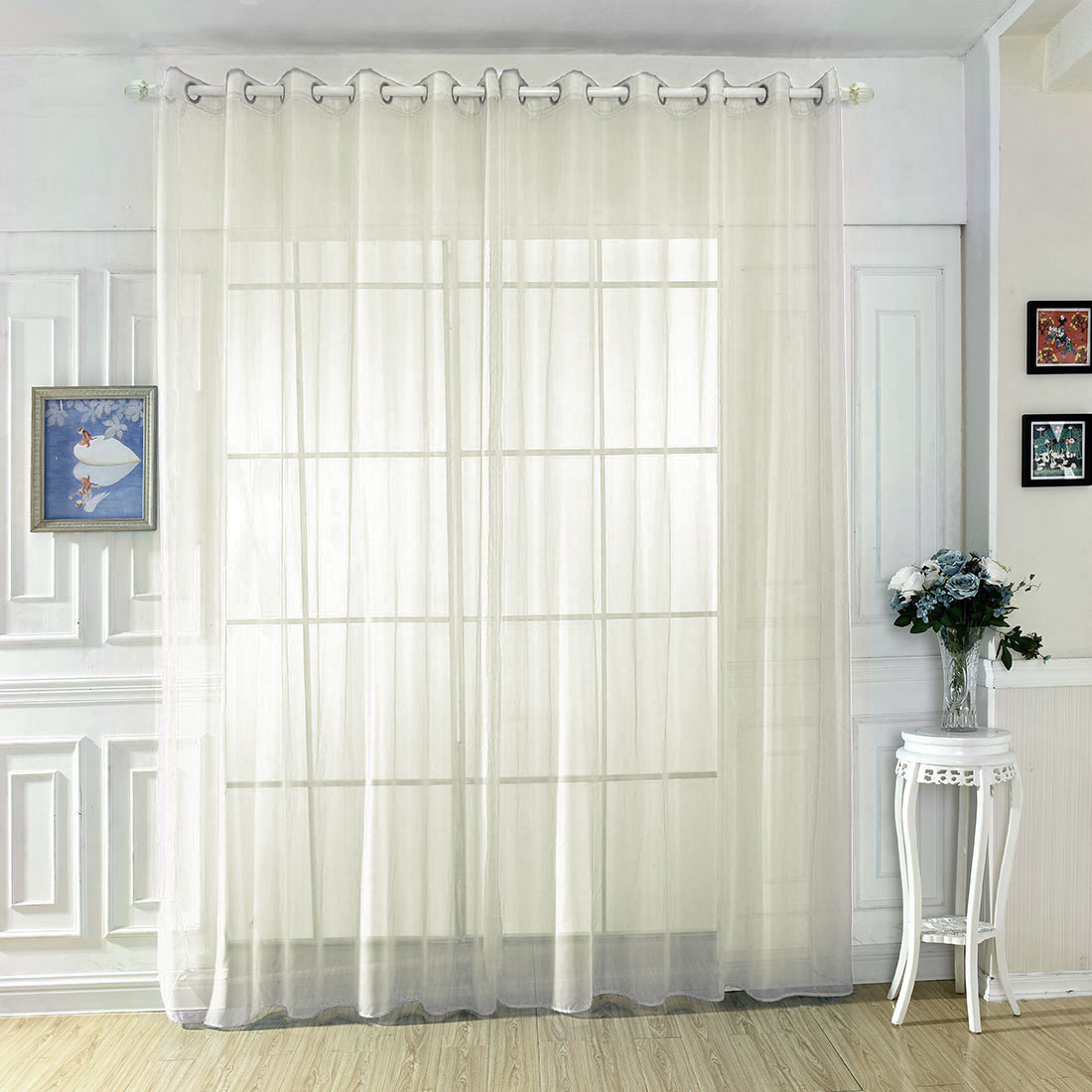 White Sheer Door Panel Curtains Home White Solid Sheer Voile Grommet Curtain Panel Drapes