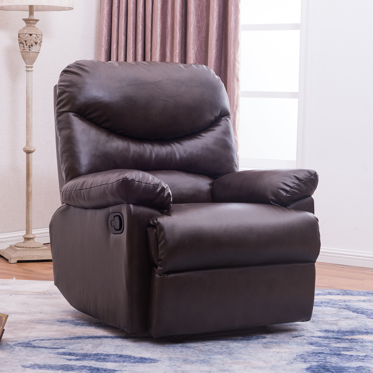 Leather Lounge Belleze Recliner Living Room Chair Faux Leather Lounge Padded Armrest Brown