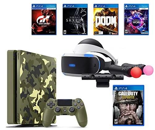PlayStation 4 Slim Call of Duty WWII Bundle (6 Items): PSVR Launch Bundle, PS4 Slim 1TB Limited ...