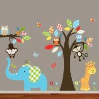 Wallartdesign Nursery Wall Art Colorful Safari Animal Owl ...