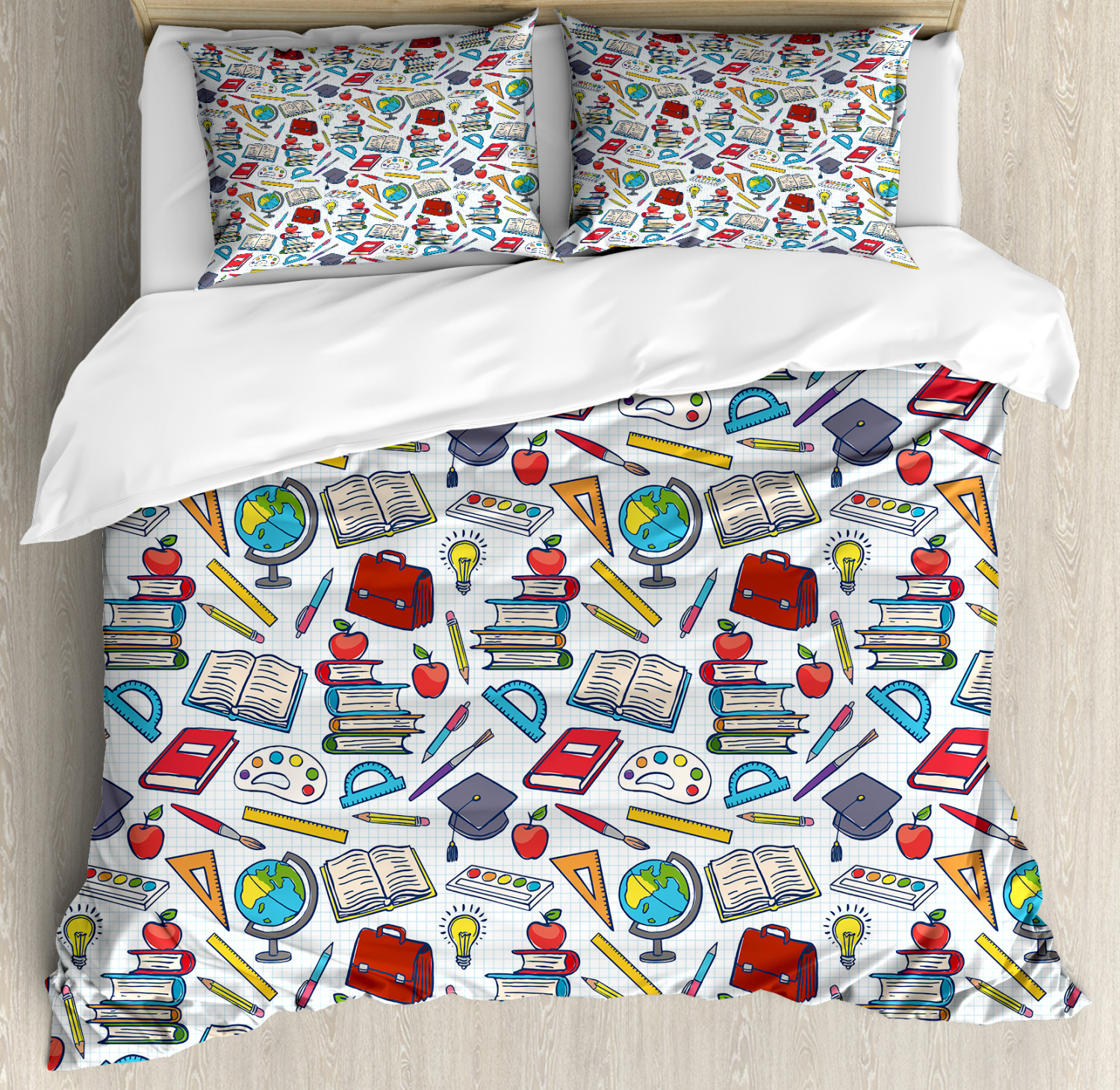 Kids Duvet Cover Set Elementary School Theme Student Supplies Globe Paints And Brushes Books Education Decorative Bedding Set With Pillow Shams Multicolor By Ambesonne Walmart Com Walmart Com