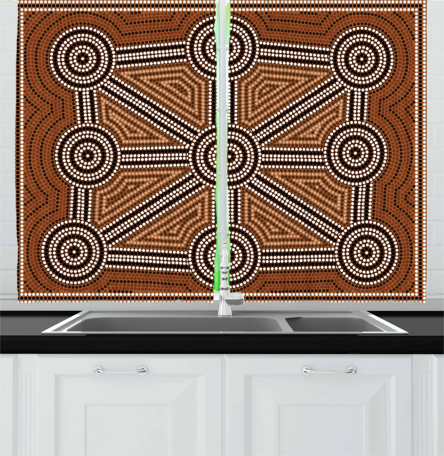 Earth Tone Curtains Tribal Curtains 2 Panels Set Australian Aboriginal Style