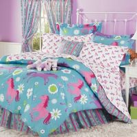Purple, Blue & Pink Pony Horse Kids Twin Comforter Set (6 ...