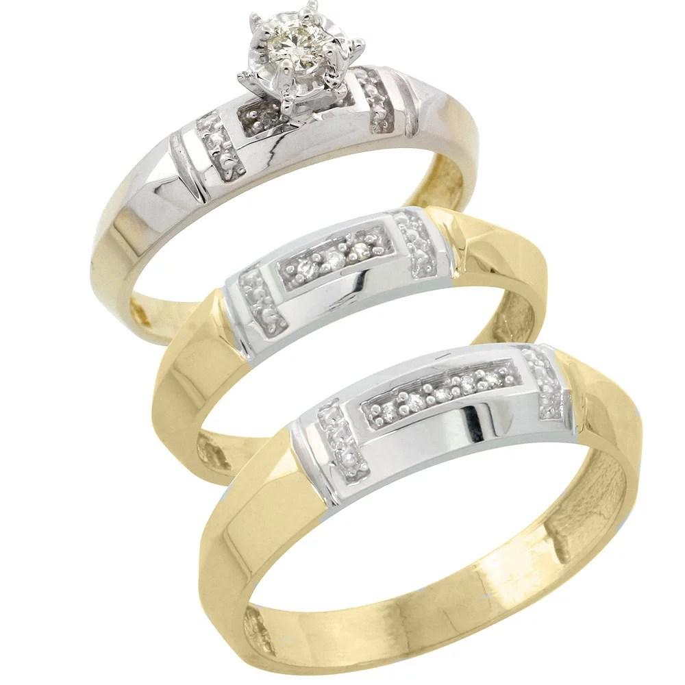 his and hers gold wedding rings trio wedding rings His and hers gold wedding rings Gold Plated Sterling Silver Diamond Trio Wedding Ring Set