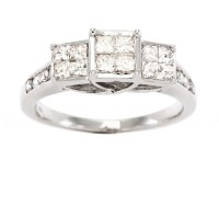 1 Carat T.W. Invisible Set Diamond Engagement Ring in 10kt ...