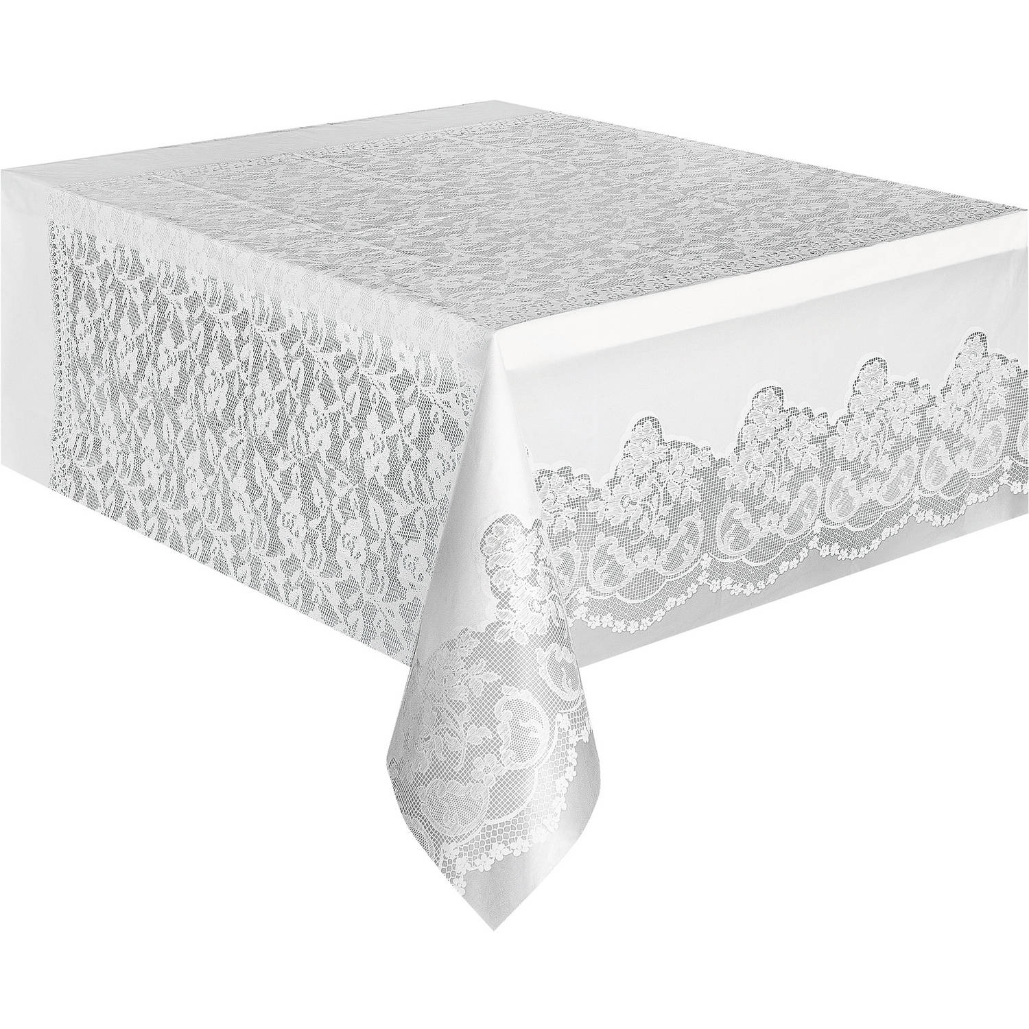 Kunststoff Tischdecke White Lace Print Plastic Party Tablecloth, 108 X 54in