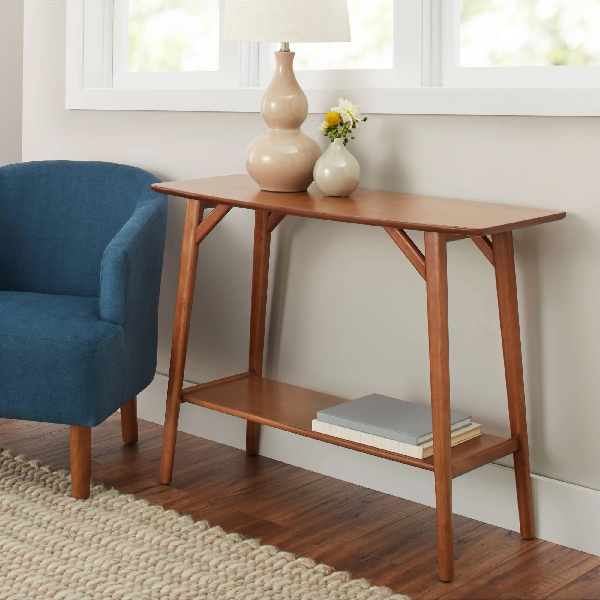 Mid Century Better Homes Gardens Reed Mid Century Modern Console Table Pecan