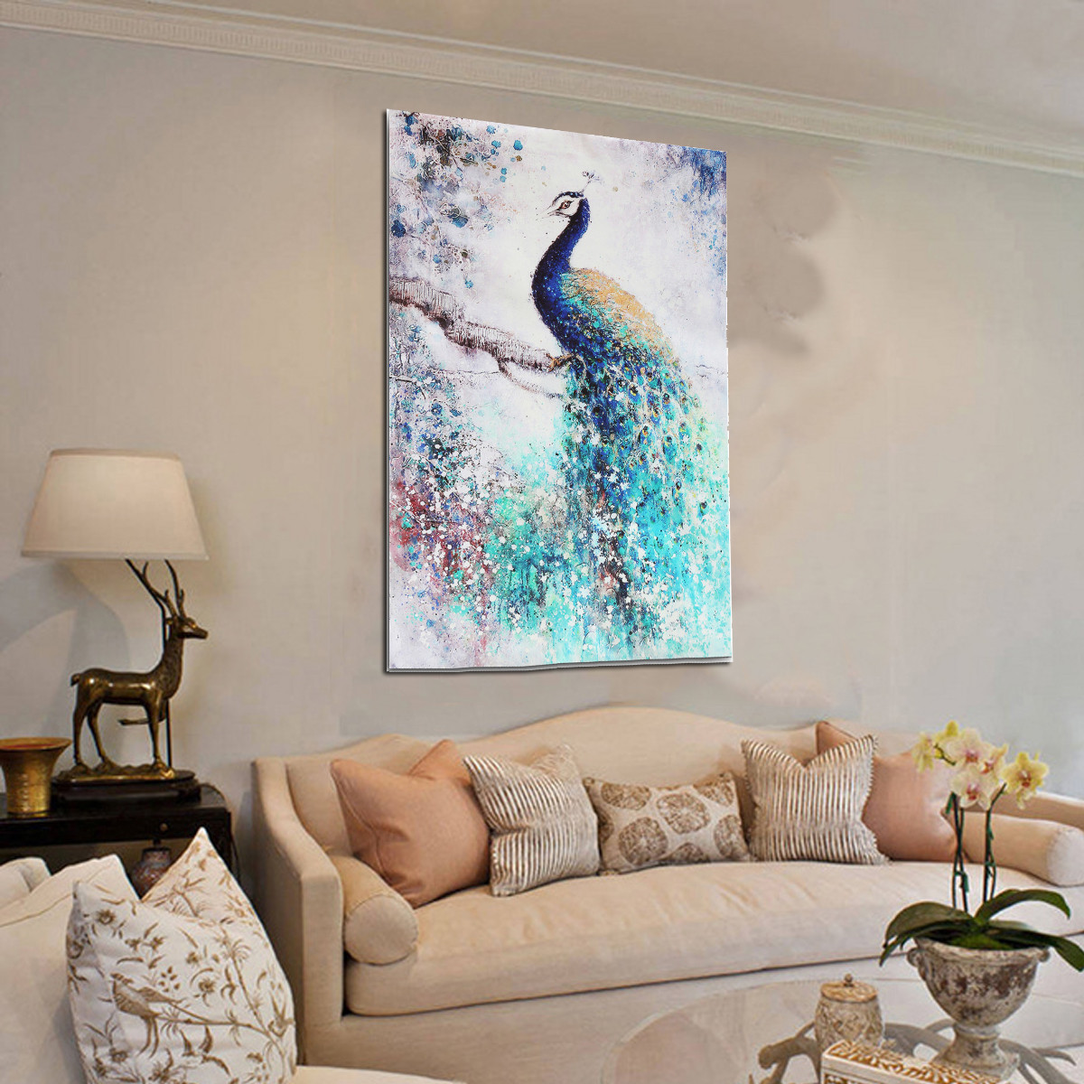 Peacock Living Room Unframed Print Canvas Wall Art Peacock Plum Flower Painting Picture Wall Hanging Home Living Room Decor