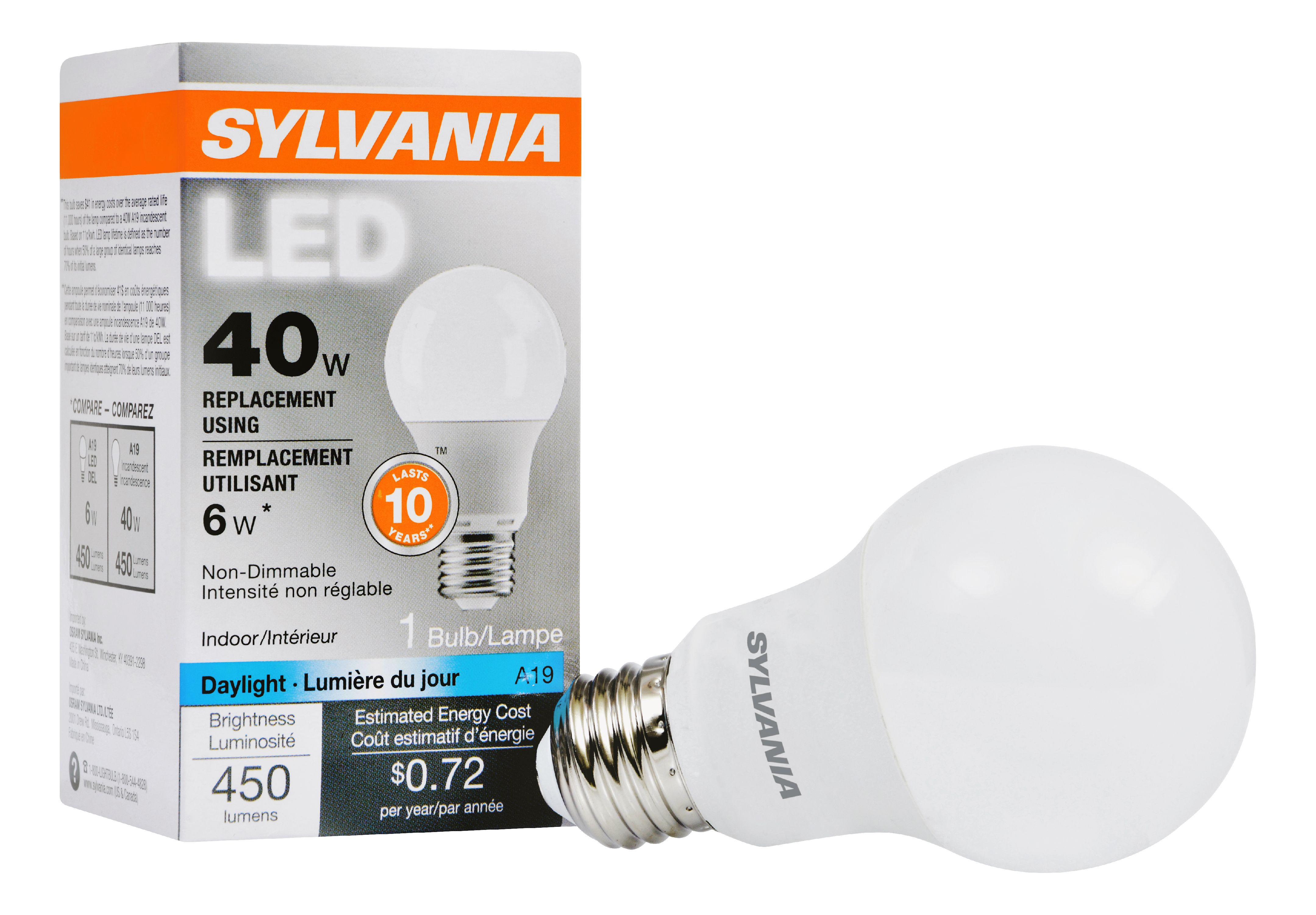 Lampe 40w Sylvania Led Light Bulb 6w 40w Equivalent Daylight 1 Count