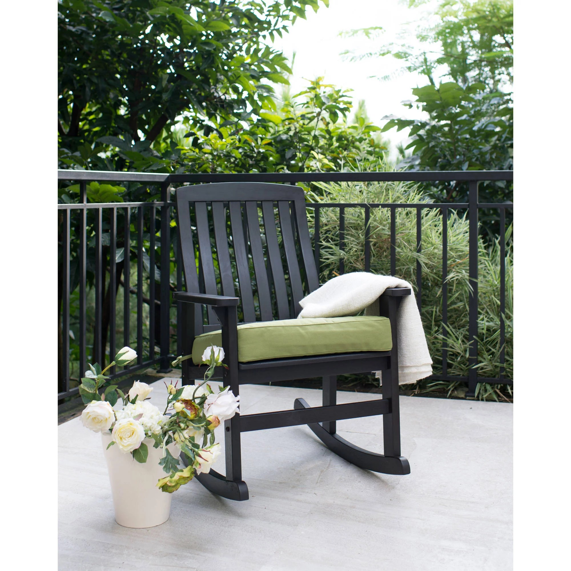 Discount Patio Chair Better Homes Gardens Delahey Wood Porch Rocking Chair Black