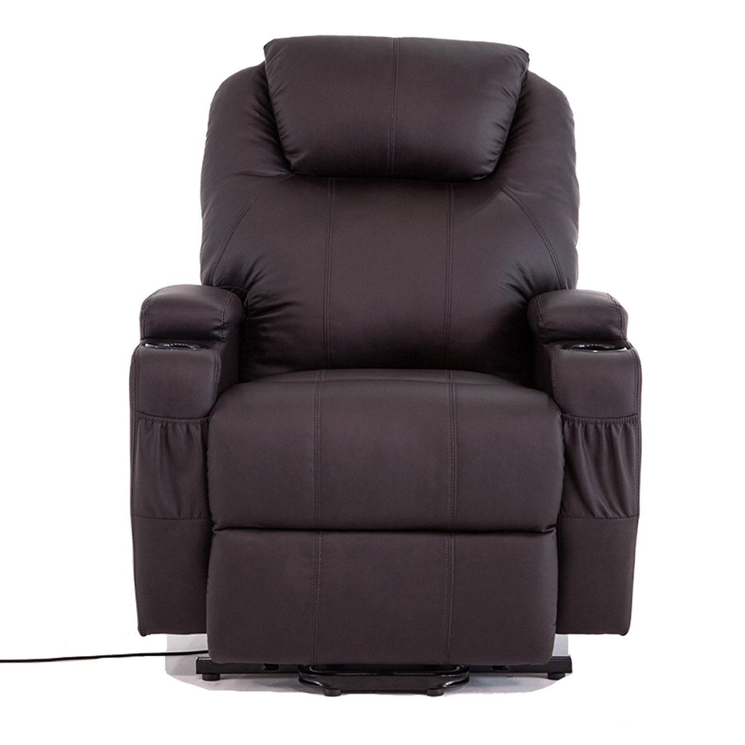 Lift Armchair Uenjoy Power Lift Chair Recliner Armchair Real Leather Wall Hugger Lounge Seat Brown