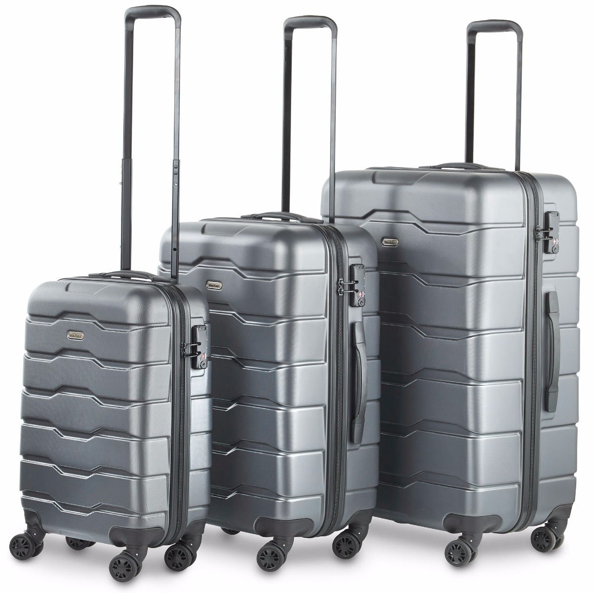 Lightweight Cabin Luggage Premium Gray 3 Piece Lightweight Travel Luggage Set Hard Shell Suitcase With 4 Spinner Wheels Tsa Integrated Lock Extendable Handle Small