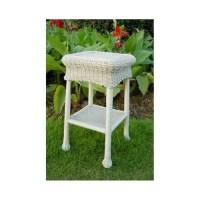 Wicker Resin/Steel Patio Side Table (White) - Walmart.com