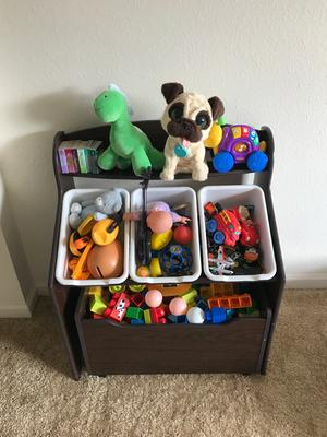 Tot Tutors 3 Tier Storage Unit With Rollout Toy Box
