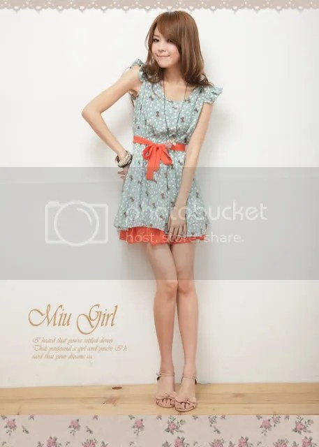 56390 spell color bow tie waist dress (light green )