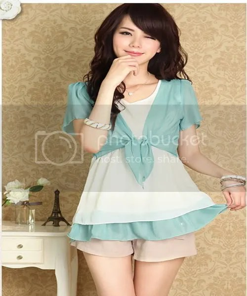D140-style hit two color small waisted dress (a total of color) (Sky Blue)