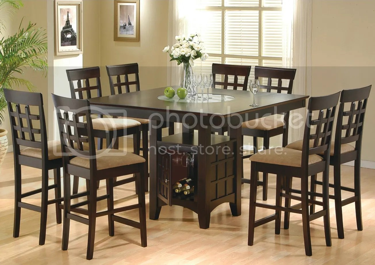 9 Piece Dining Room Set Table Counter Height Lazy Susan Ebay